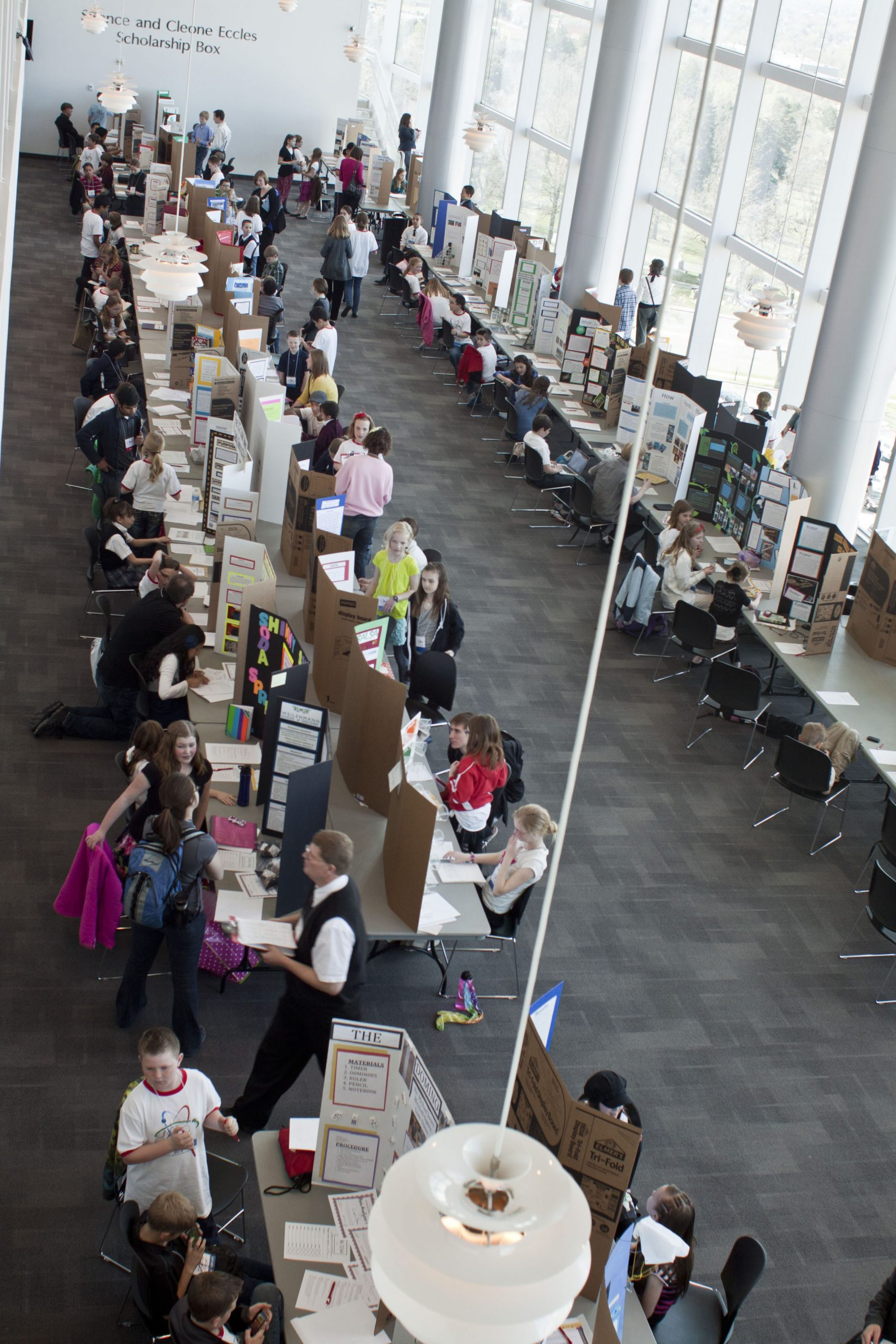 Elementary school students were among those participating in the Salt Lake Valley Science and Engineering Fair in 2012 on the University of Utah campus. This year's fair runs March 20-22 at Rice-Eccles Stadium tower.