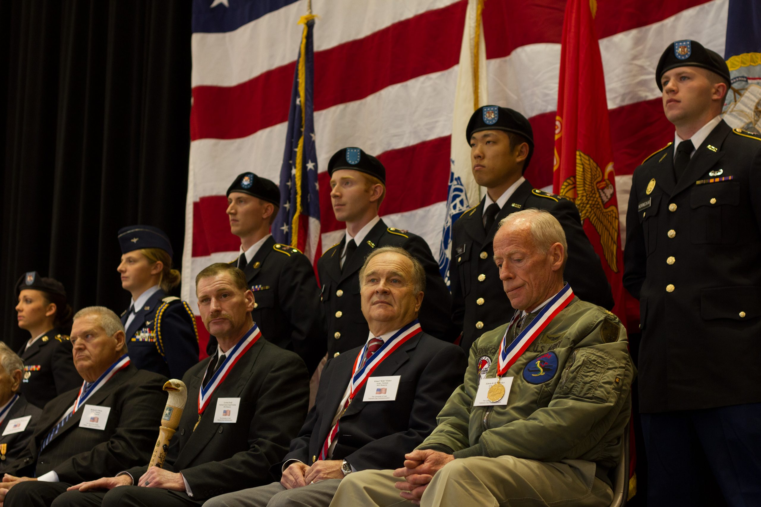 2012 honorees with their ROTC cadet escorts.