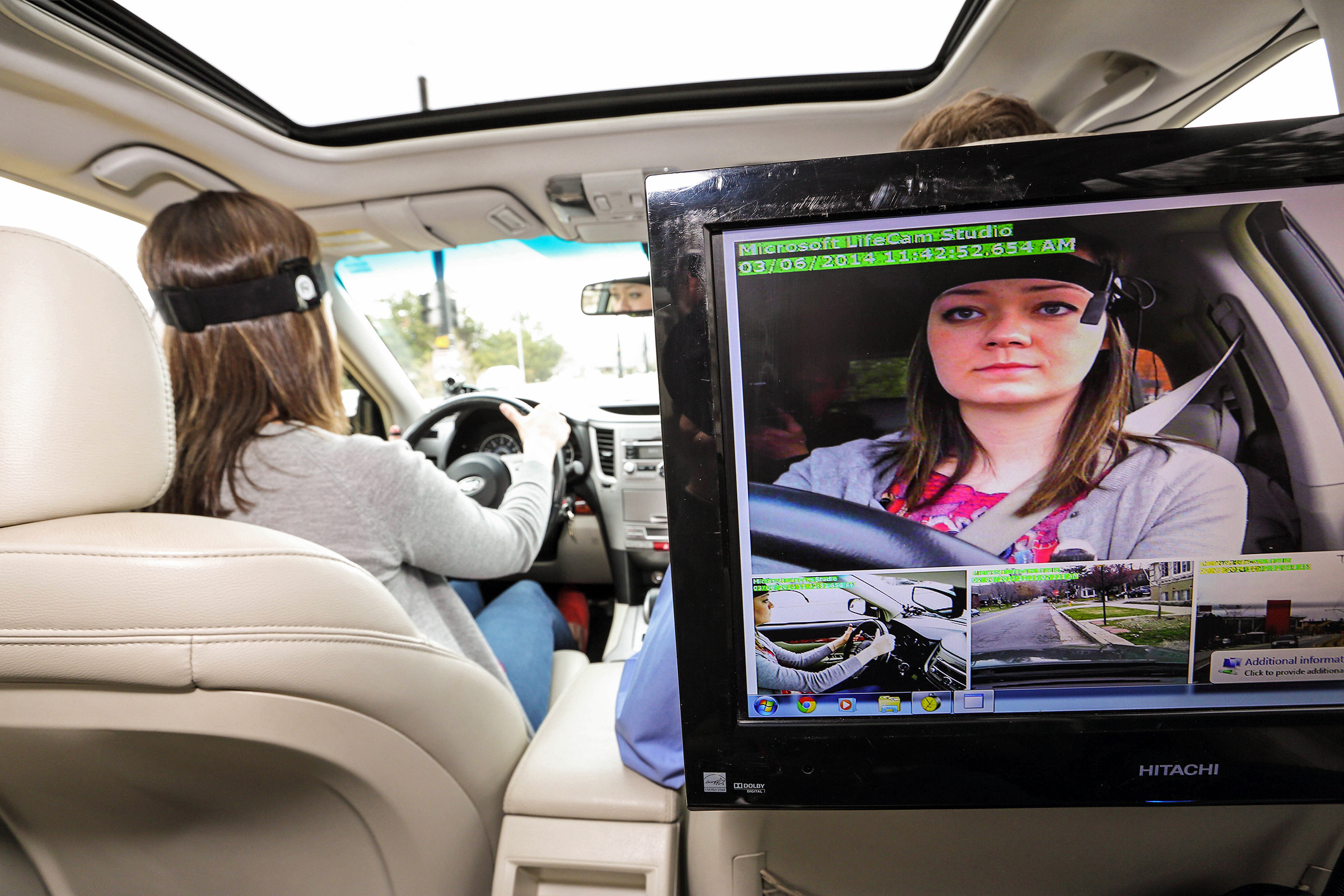A study participant drives while research equipment monitors reaction times and gathers other data. A set of new University of Utah studies for the AAA Foundation for Traffic Safety found that hands-free, voice-controlled infotainment systems in vehicles can distract drivers more than was previously believed.