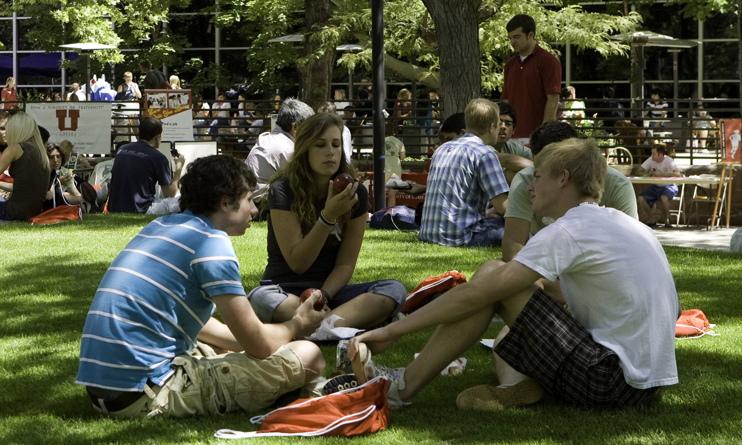 Students gather on the lawn outside the University Union.