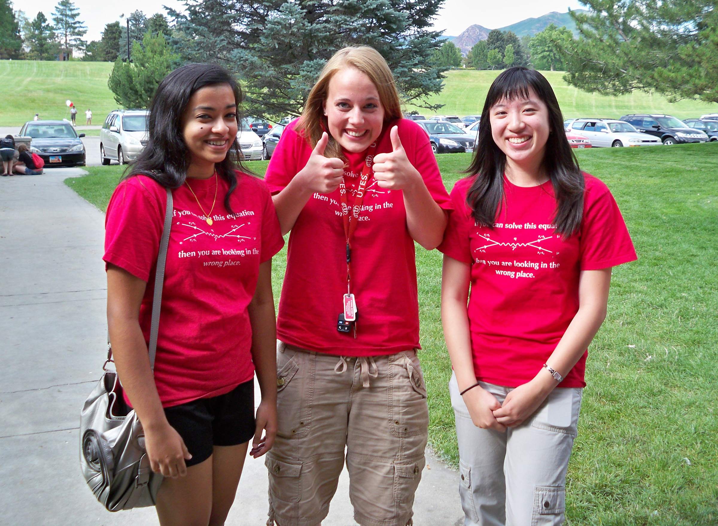 University of Utah College of Science ACCESS students enjoying time outside of the science lab. The ACCESS program aims to increase the number of women in math and the sciences.