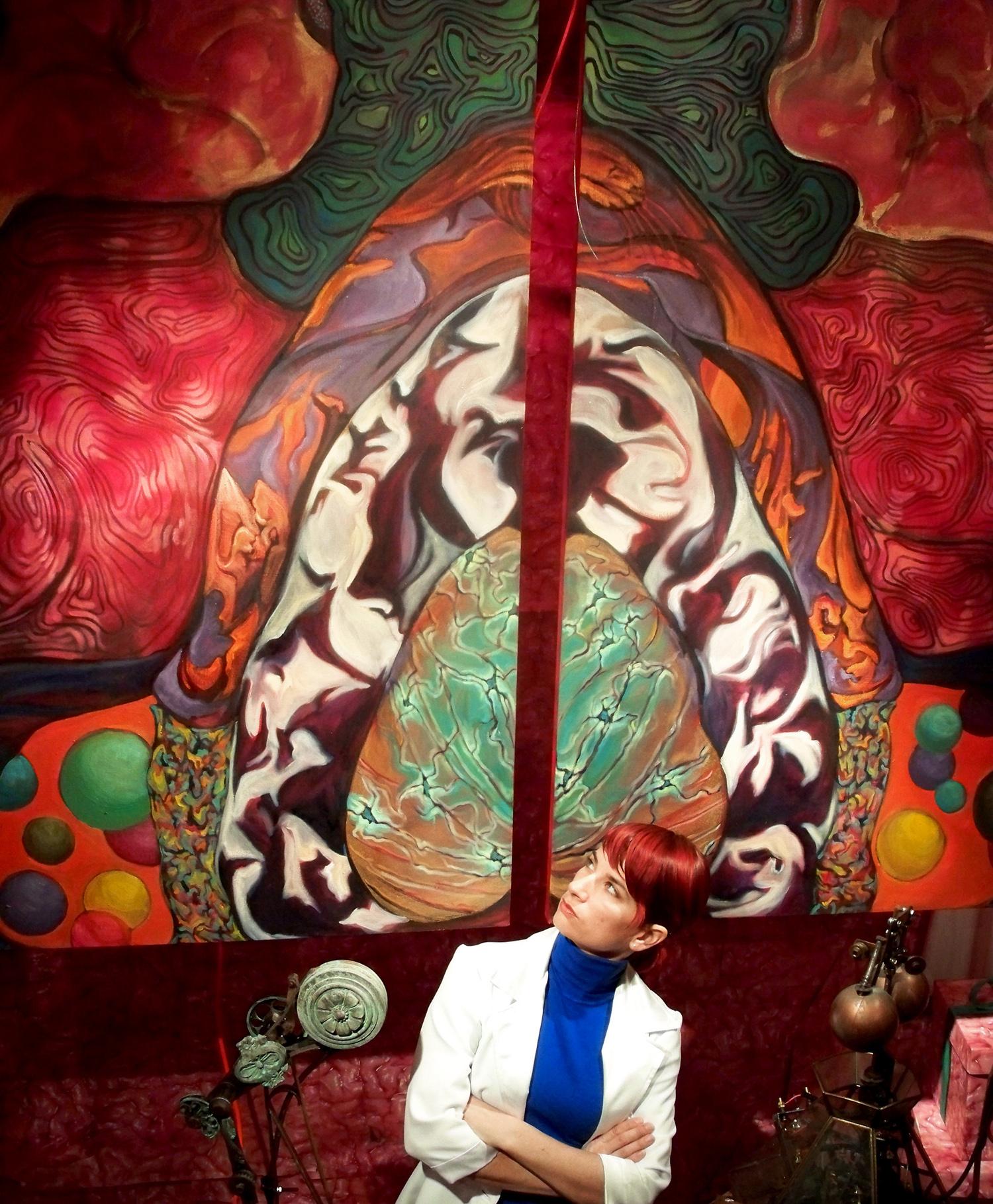 Performer inside installation