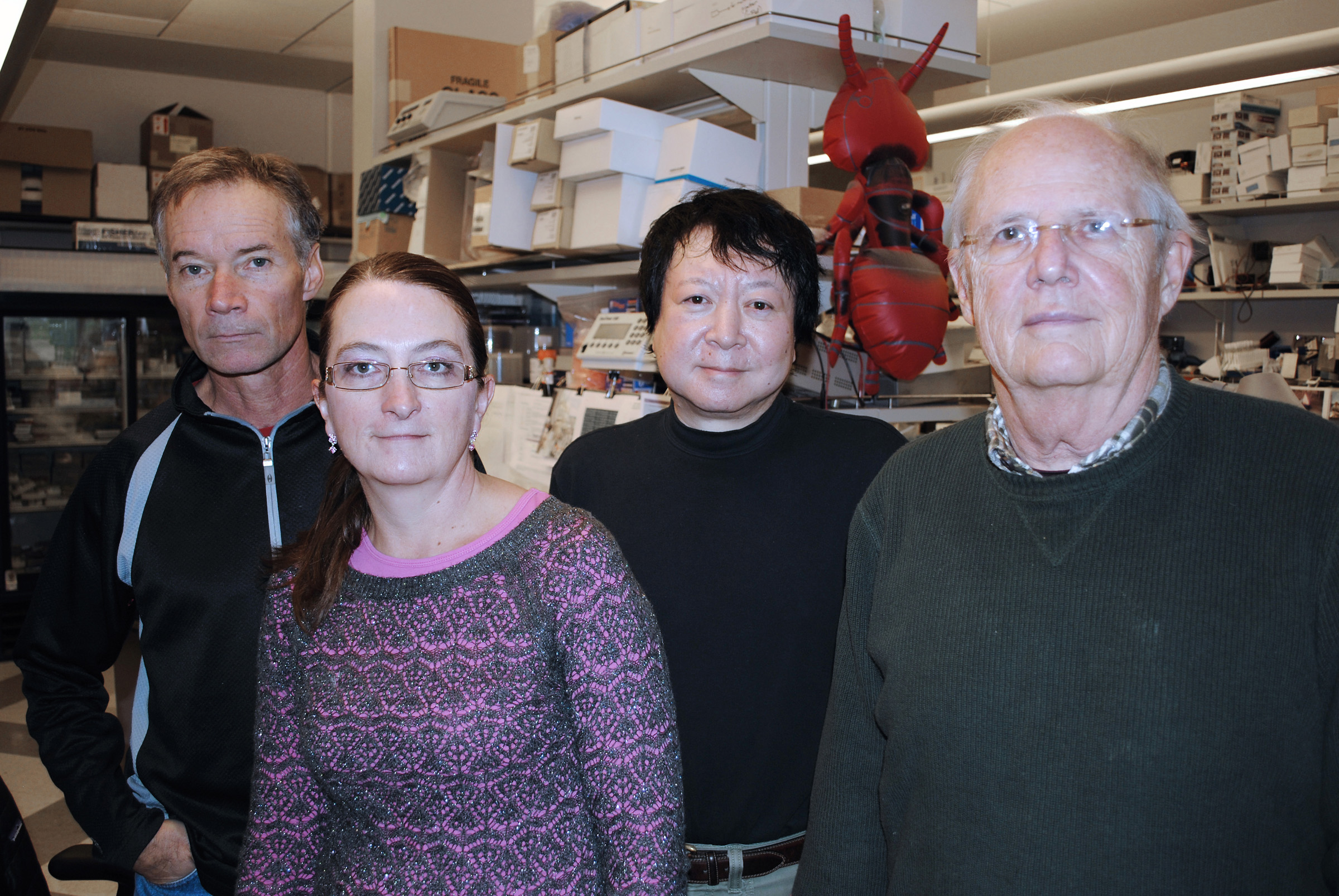 •University of Utah researchers collaborated with other institutions on a long-term research project that is helping extend our understanding of genes related to autism spectrum disorder. Pictured are (left to right) Jeff Stevens, Lisa Baird, Nori Matsunami and Mark Leppert.