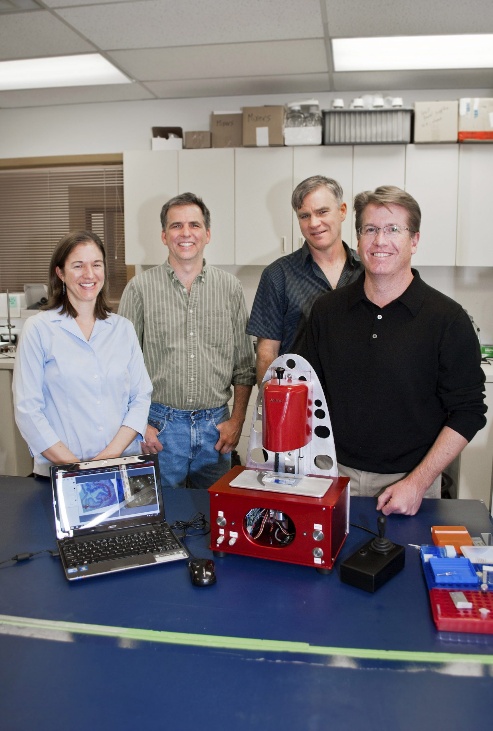 The AvanSci Bio team is (front to back) Rob Parry, Katherine Geiersbach, Mark Herrmann and Nils Adey.