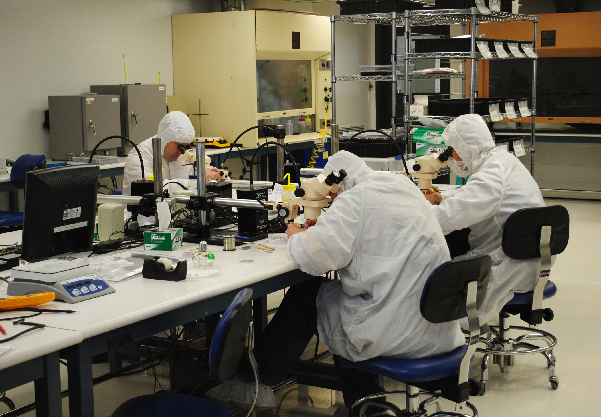 Employees work in a clean room at Blackrock Microsystems, one of the most recent startup companies to come out of the University of Utah.