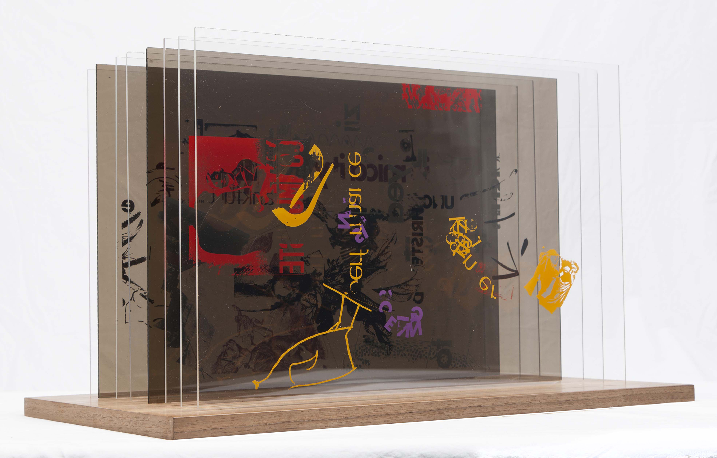 John Cage (American, 1912–1992) and Calvin Sumsion, Not Wanting to Say Anything About Marcel, Plexigram VI, 1969. Screenprint on acrylic panels with wooden base. Purchased with funds from the National Endowment for the Arts, Associated Students of the University of Utah, and the Charles E. Merrill Trust.