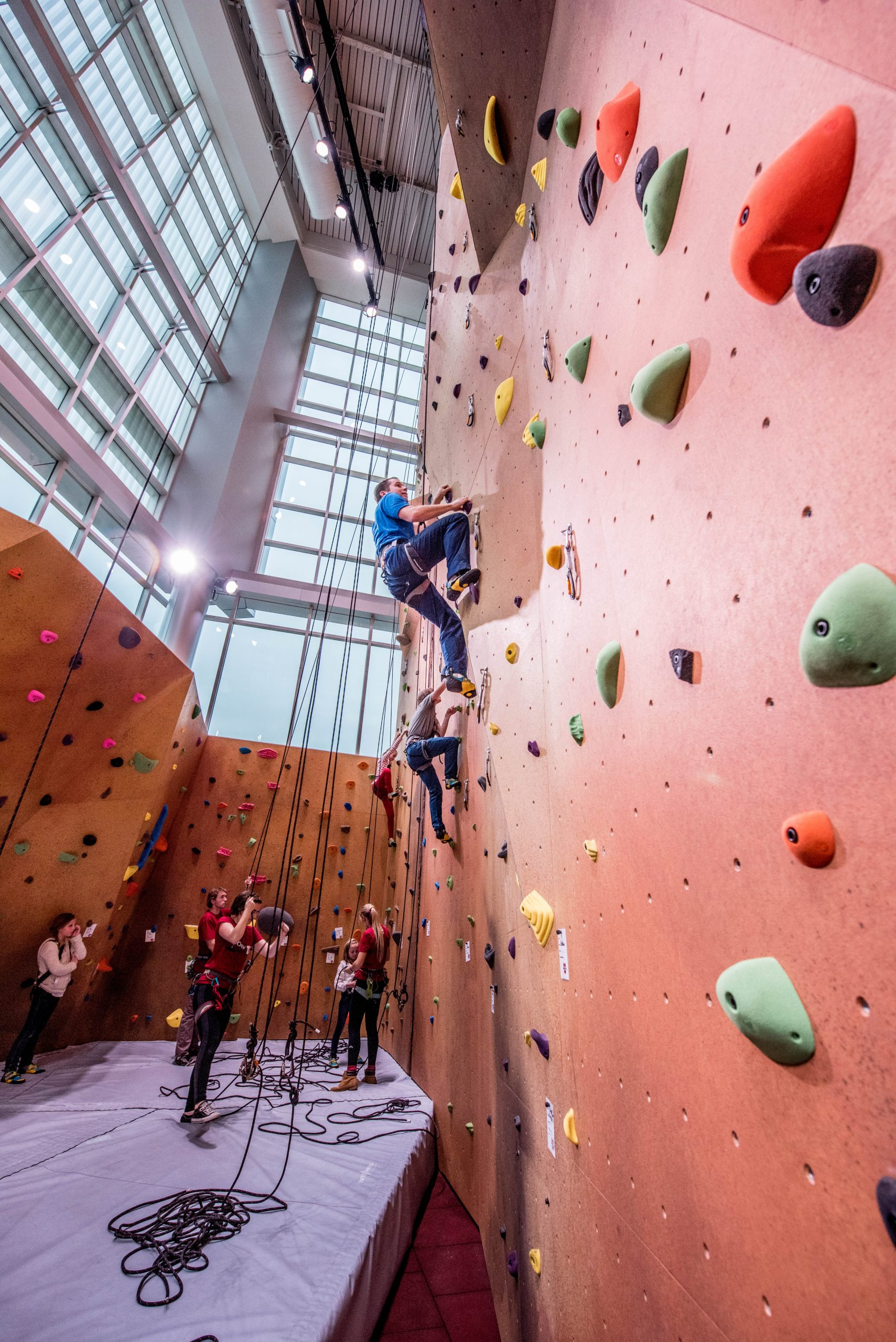 The 54-foot climbing wall and bouldering center at the George S. Eccles Student Life Center is a great way for students and staff to learn climbing and belaying skills as part of their fitness routines.