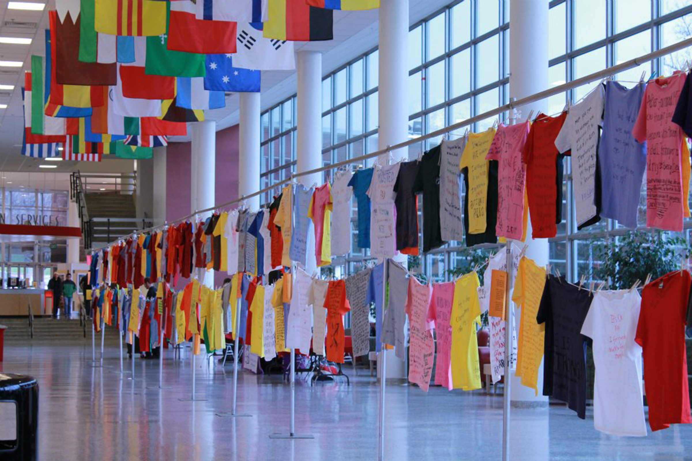 T-shirts displayed at the Clothesline Project.