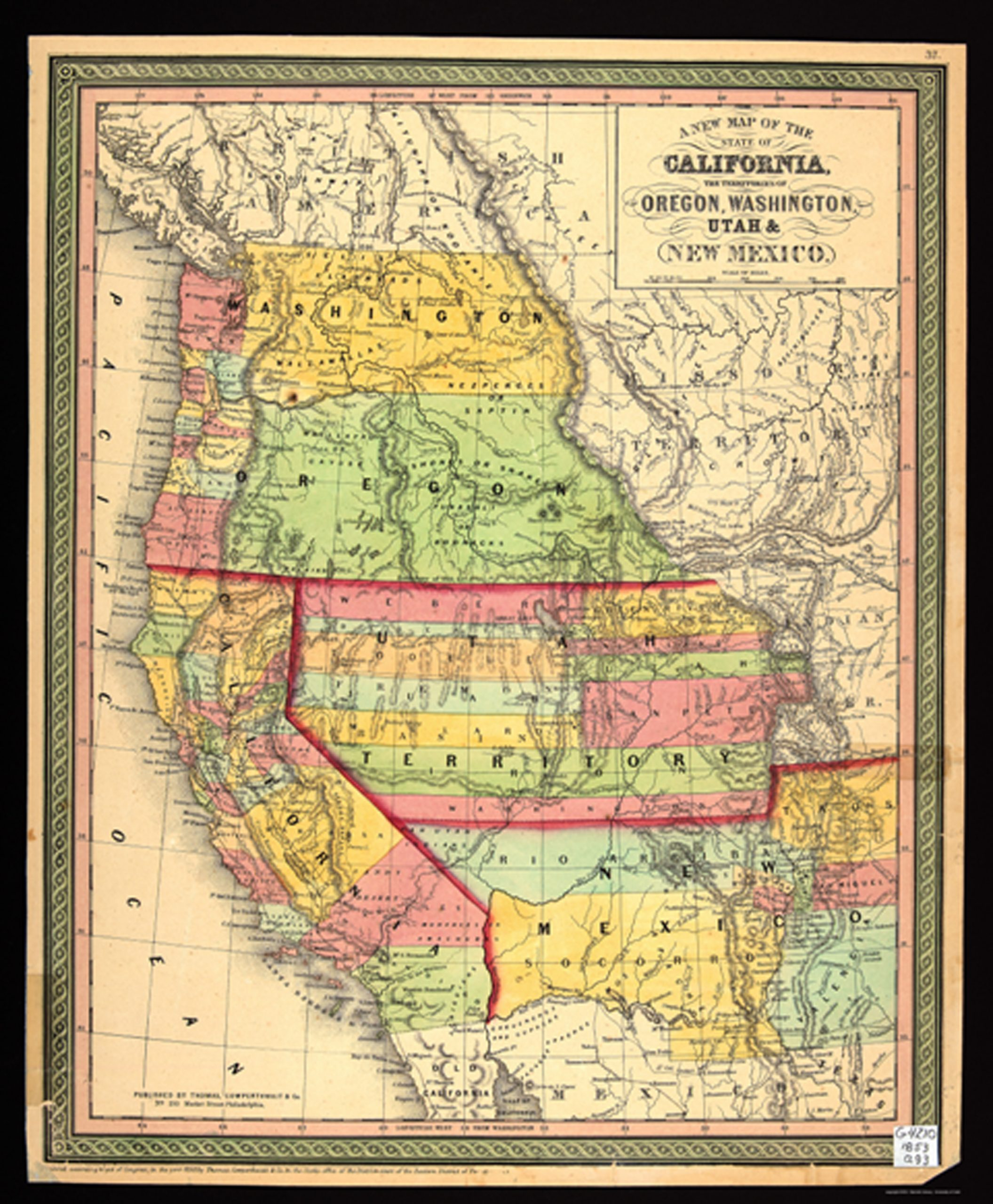 Early map of California, including the territories of Oregon, Washington, Utah and New Mexico, depicting the trails of the early Mormon migration in 1853.