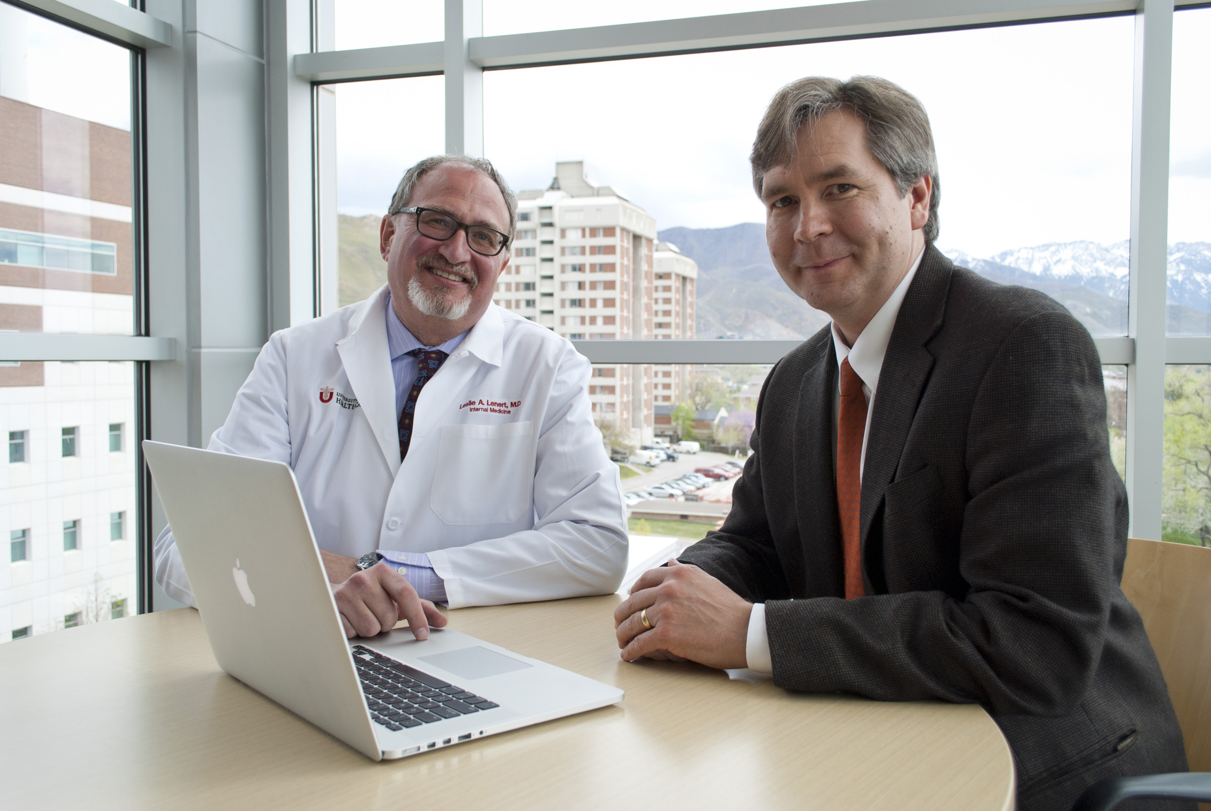 University of Utah faculty members Leslie Lenert (left) and Lewis Frey invented a program that recommends health care treatment options to doctors and patients.