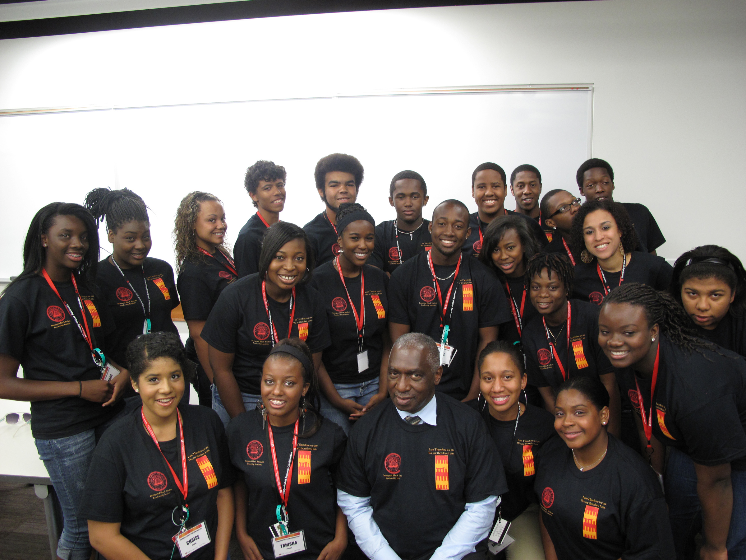 Students gather with a faculty mentor after a research session in the Marriott Library during the Inaugural Black Student Leadership Institute in 2012.