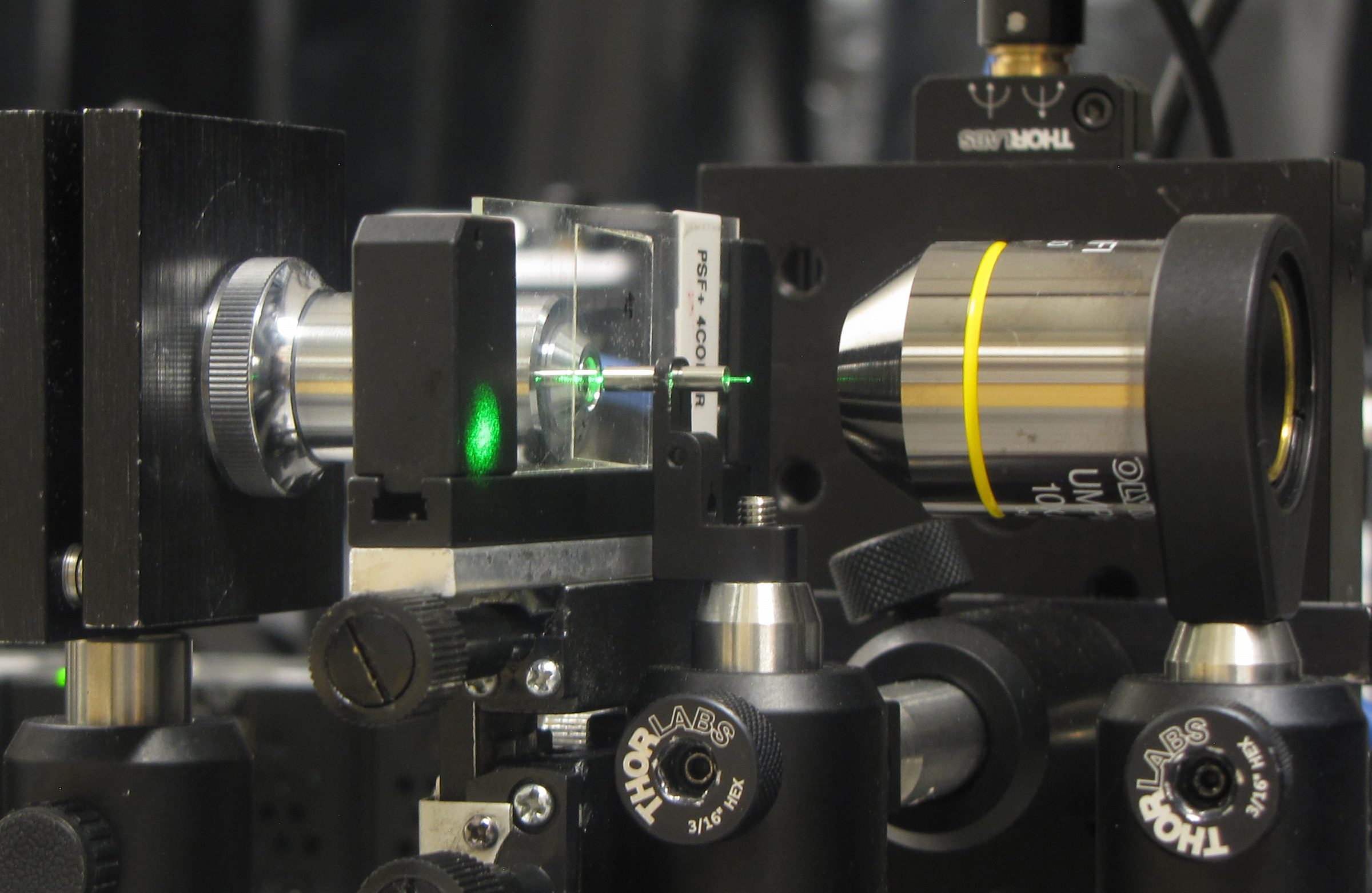 University of Utah engineers have developed a new microscopy method that uses a fine needle or cannula and an LED light to make 3-D images. They hope this new microscope technology, shown here, can be implanted into the brains of mice to show images of cells.