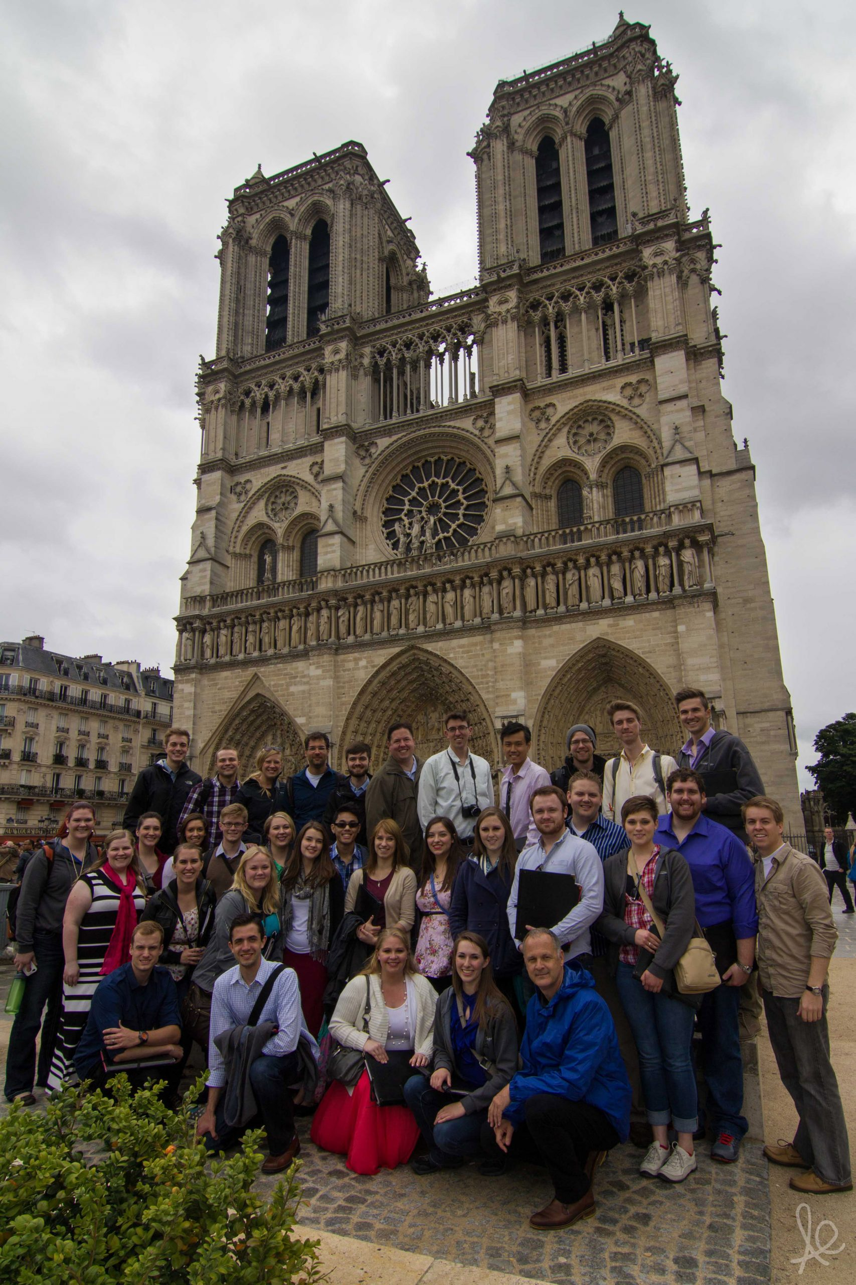 Members of the University of Utah Chamber Choir outside Cathédrale Notre Dame de Paris after rehearsing for their participation in Sunday Mass. (24 May 2014)