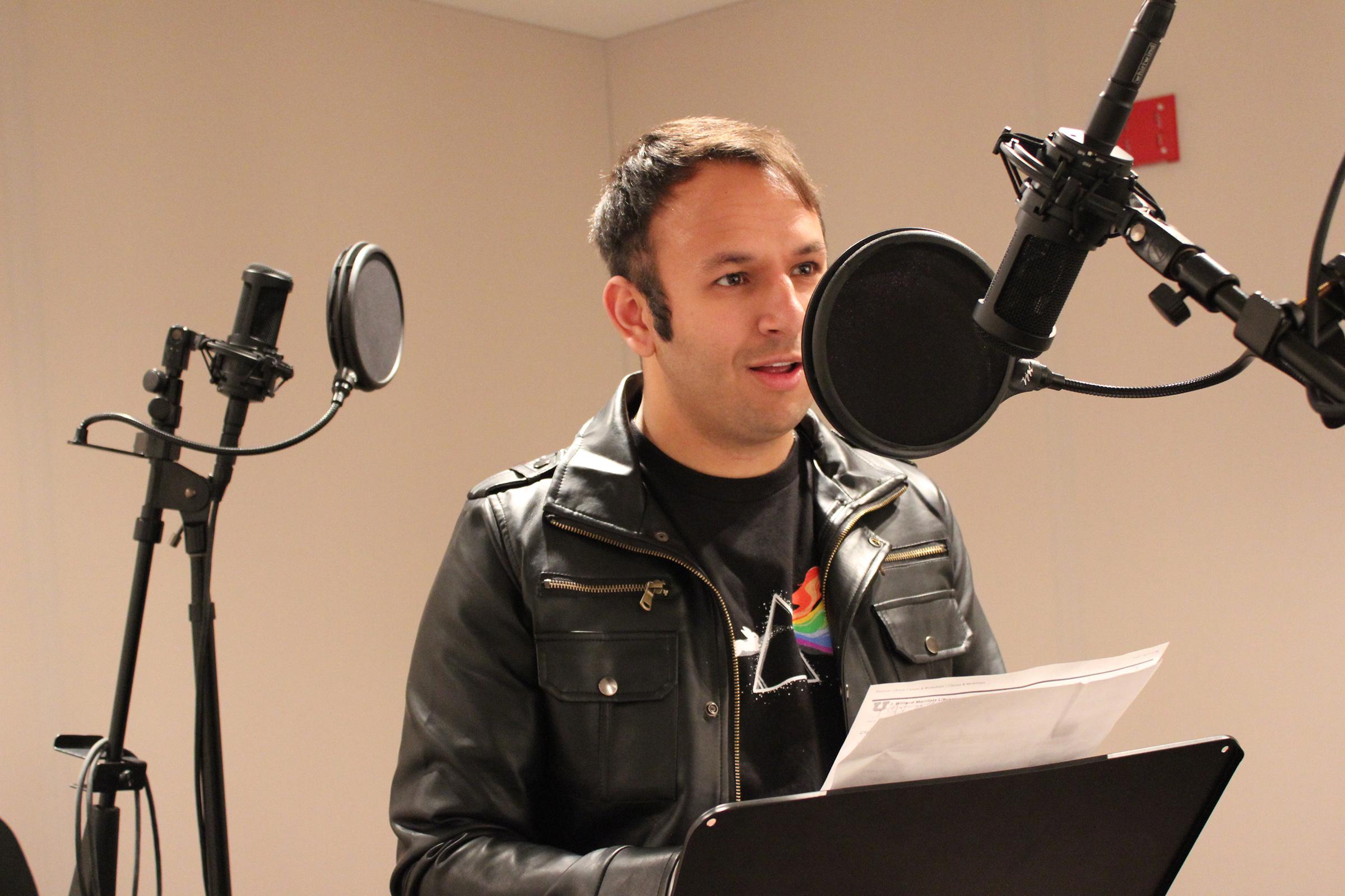 Jordan Hanzon, a student at the U, uses the audio studio in the J. Willard Marriott Library's Digital Scholarship Lab.