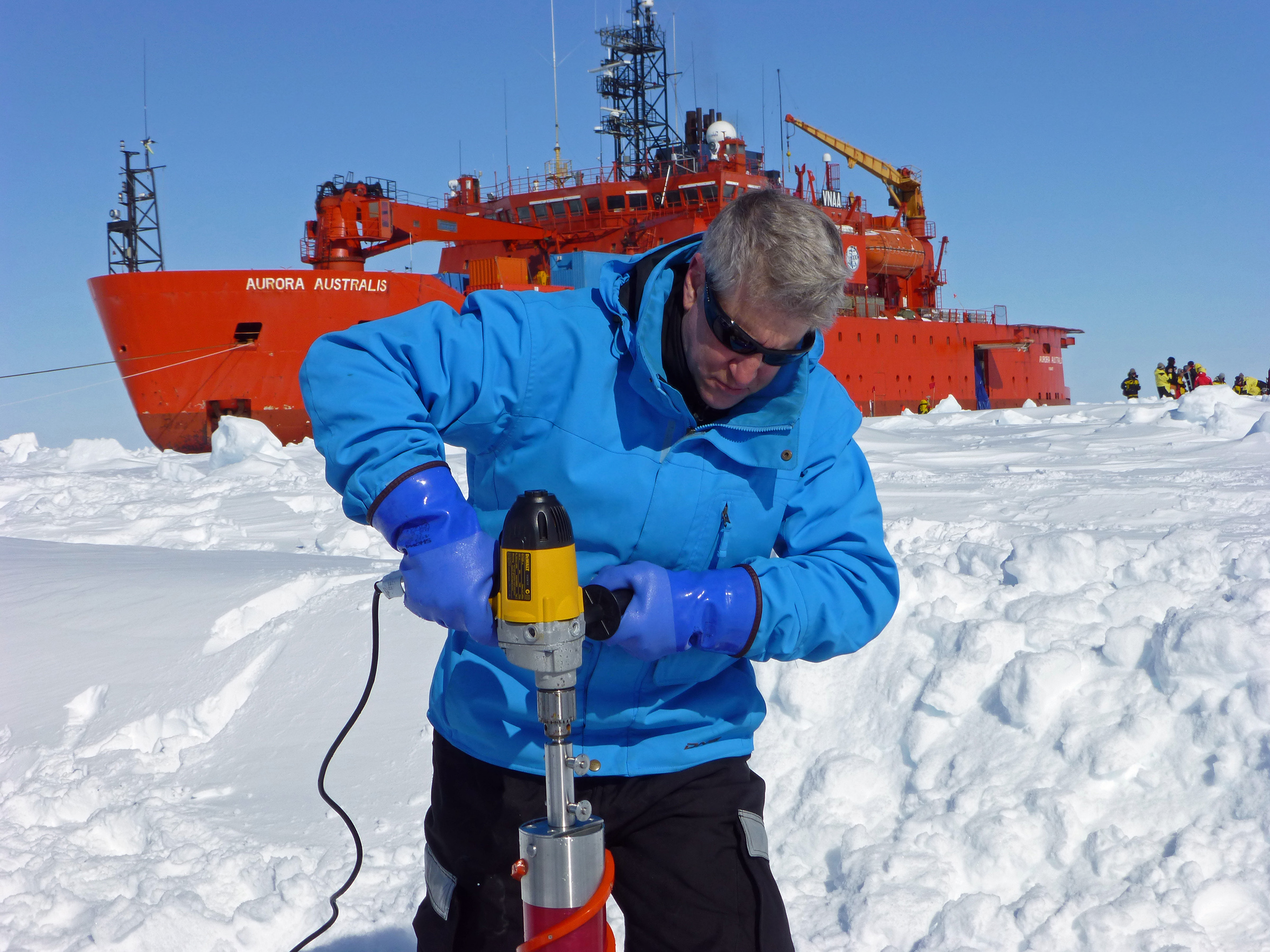 University of Utah math professor Ken Golden has been selected as a member of the Explorers Club, the exclusive New York City group with such famous past members as first man-on-the-moon Neil Armstrong, test pilot Chuck Yeager and Sir Edmund Hillary, one of the first two men to reach the summit of Mount Everest. Golden is shown here drilling ice core samples during a 2012 expedition to Antarctica aboard the Aurora Australis. He studies the mathematics of sea ice and how that relates to climate change. He has made 17 trips to polar regions since 1980.