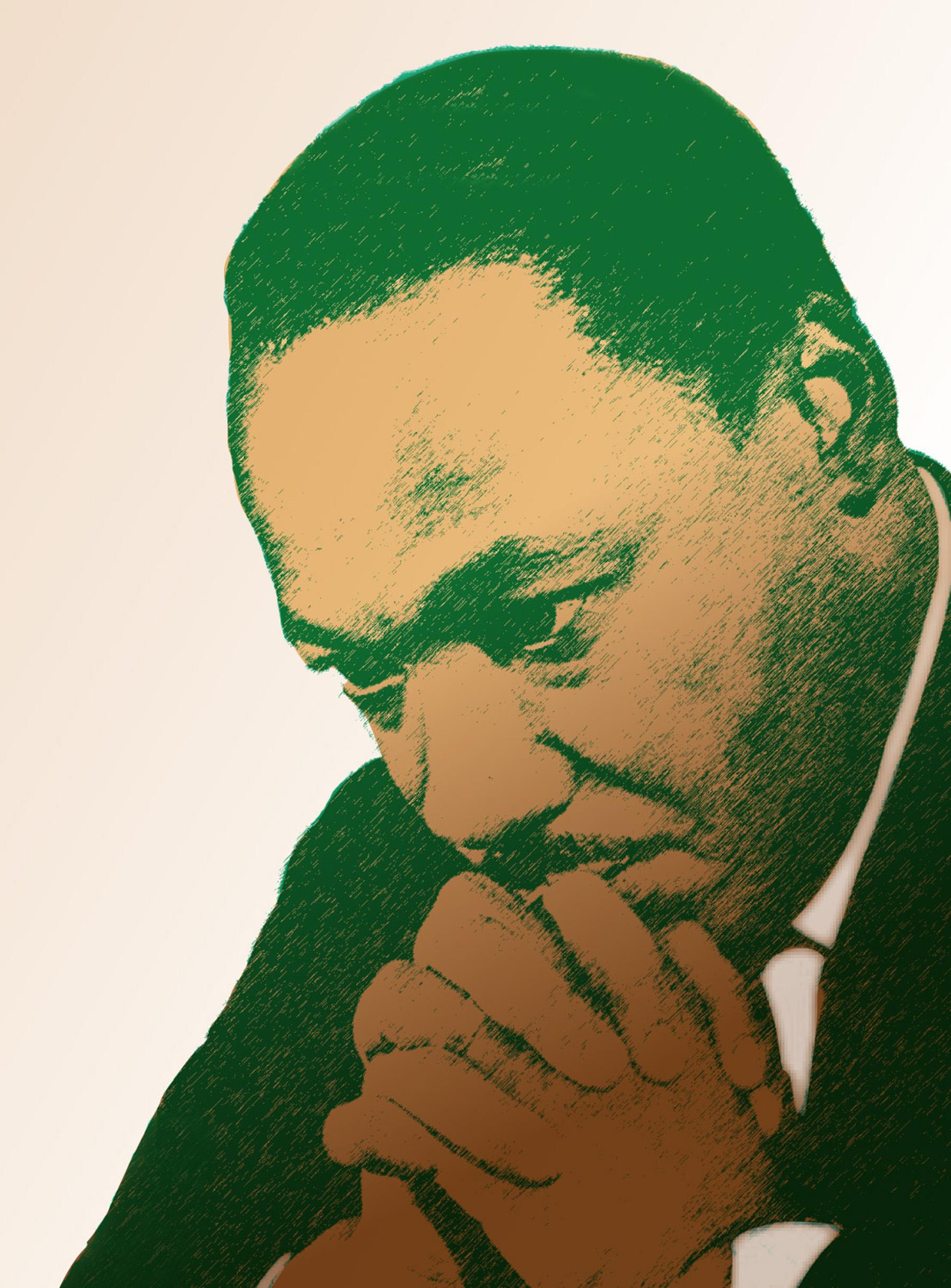 Dr. Martin Luther King praying.