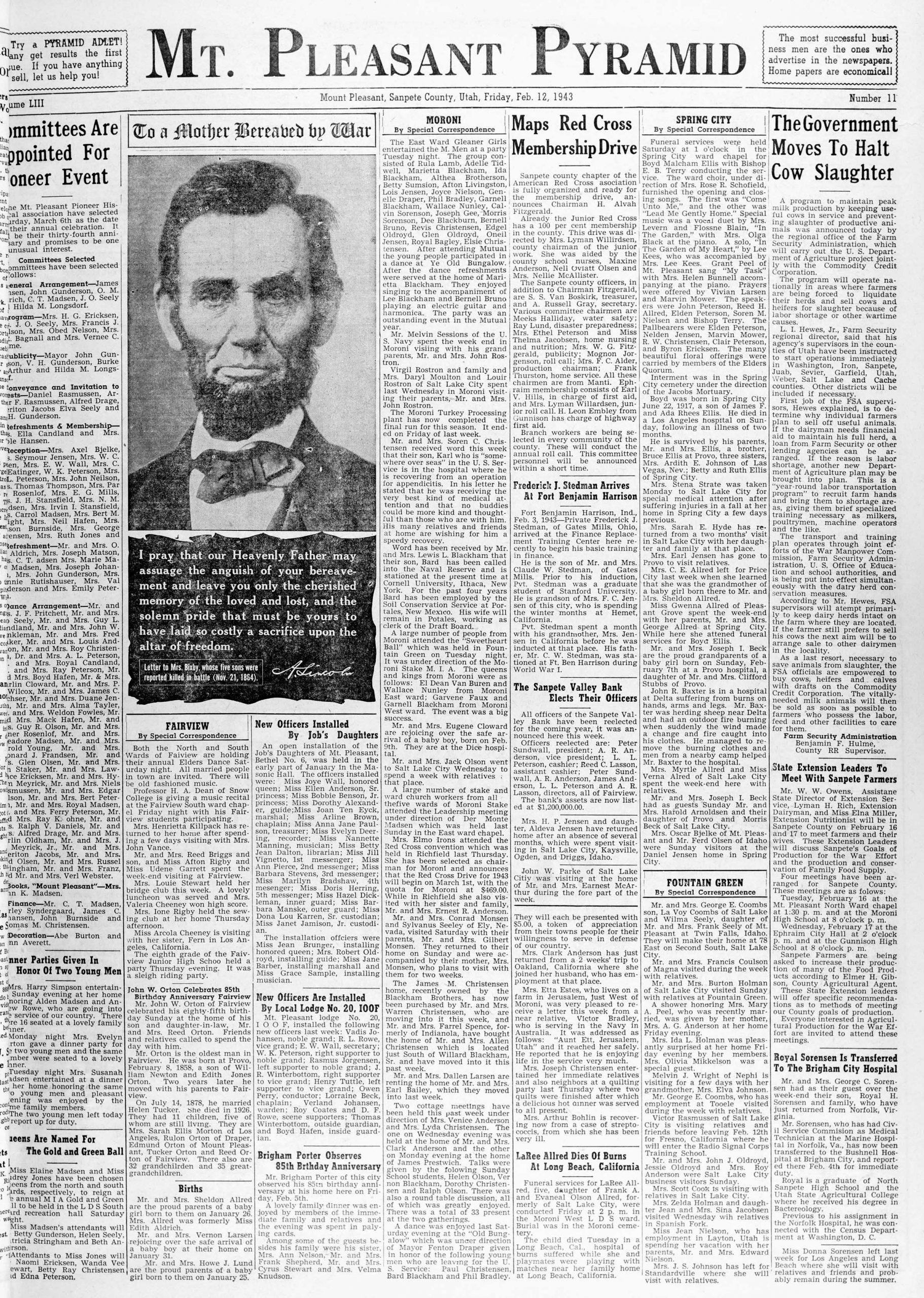 Mt. Pleasant newspaper from 02-12-1943