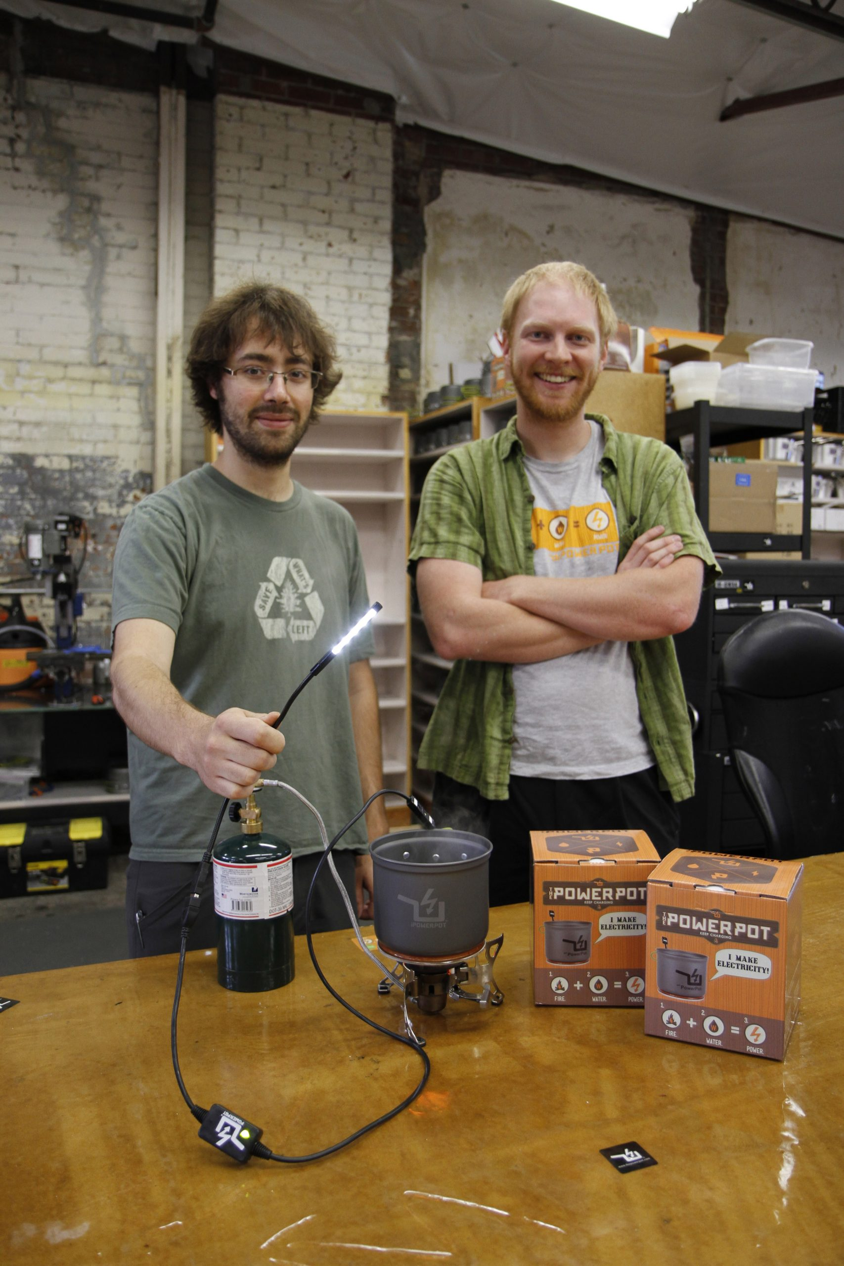 David Toledo (left) and Paul Slusser invented the PowerPot while studying materials science and engineering at the University of Utah.