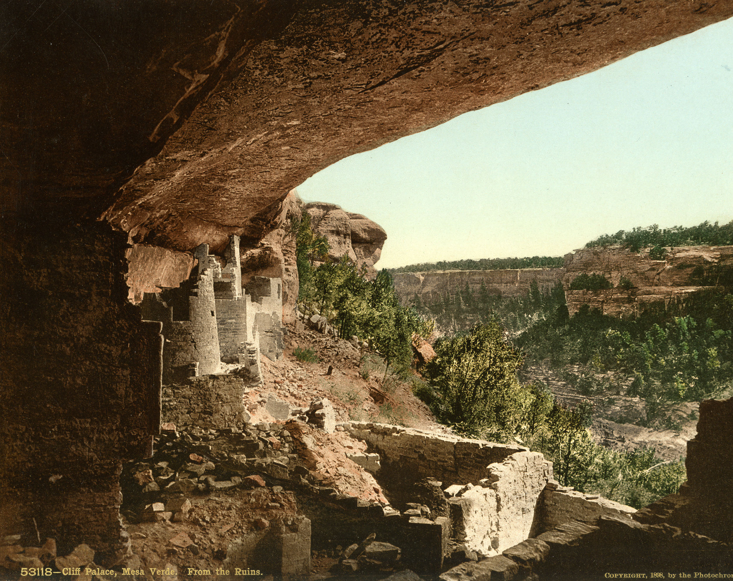 Cliff Palace, Mesa Verde Colorado. Created by the Detroit Photographic Company in 1889.