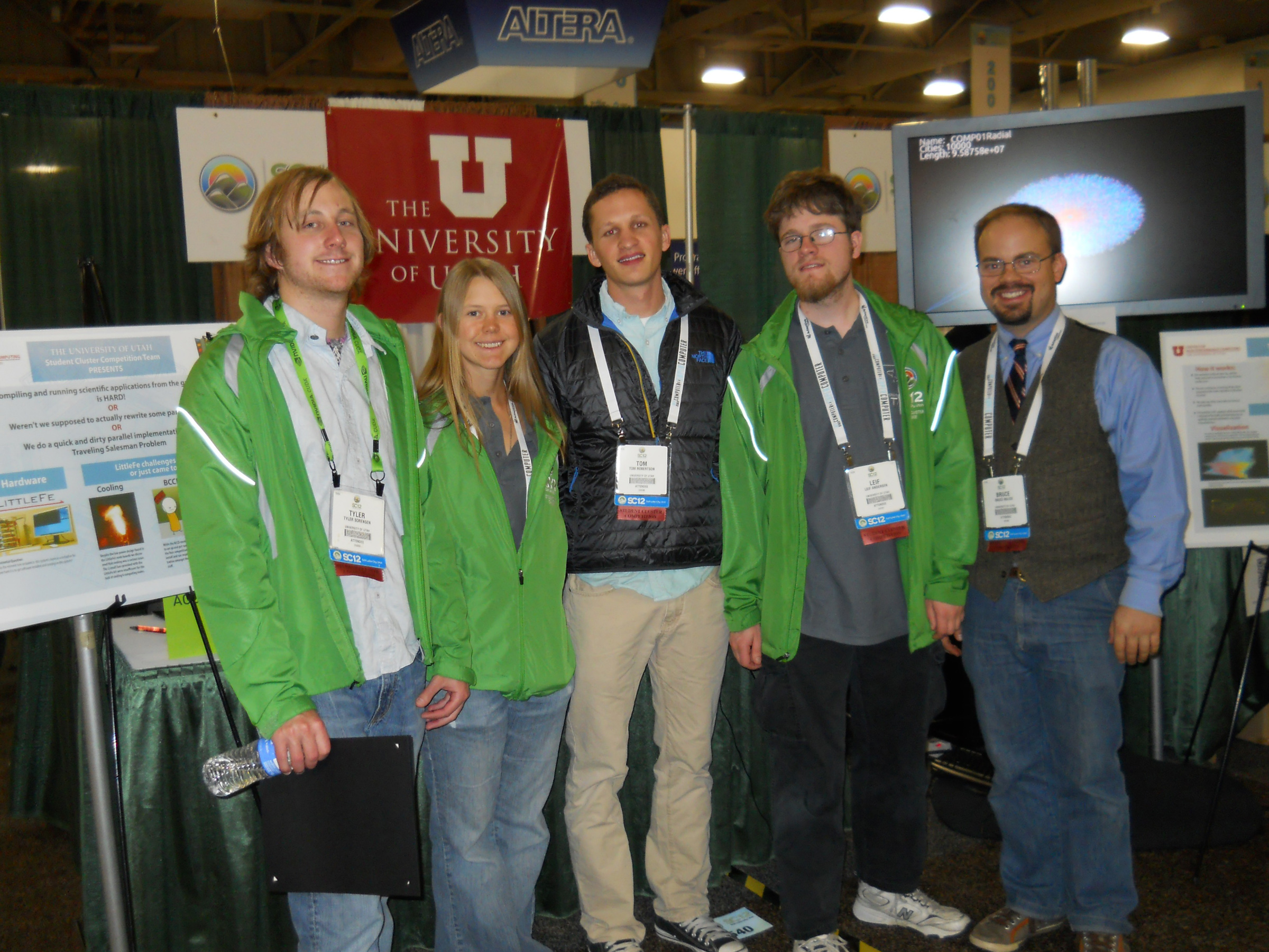 Six University of Utah computer science students won a contest Thursday in which they built a small supercomputer during the SC12 international national supercomputing conference, held at the Salt Palace Convention Center in Salt Lake City. Shown here, from left to right, are five of the winning students: Tyler Sorenson, Kathryn Rodgers, Tom Robertson, Leif Andersen and Bruce Bolick. The sixth winner, Ian King, is not shown.