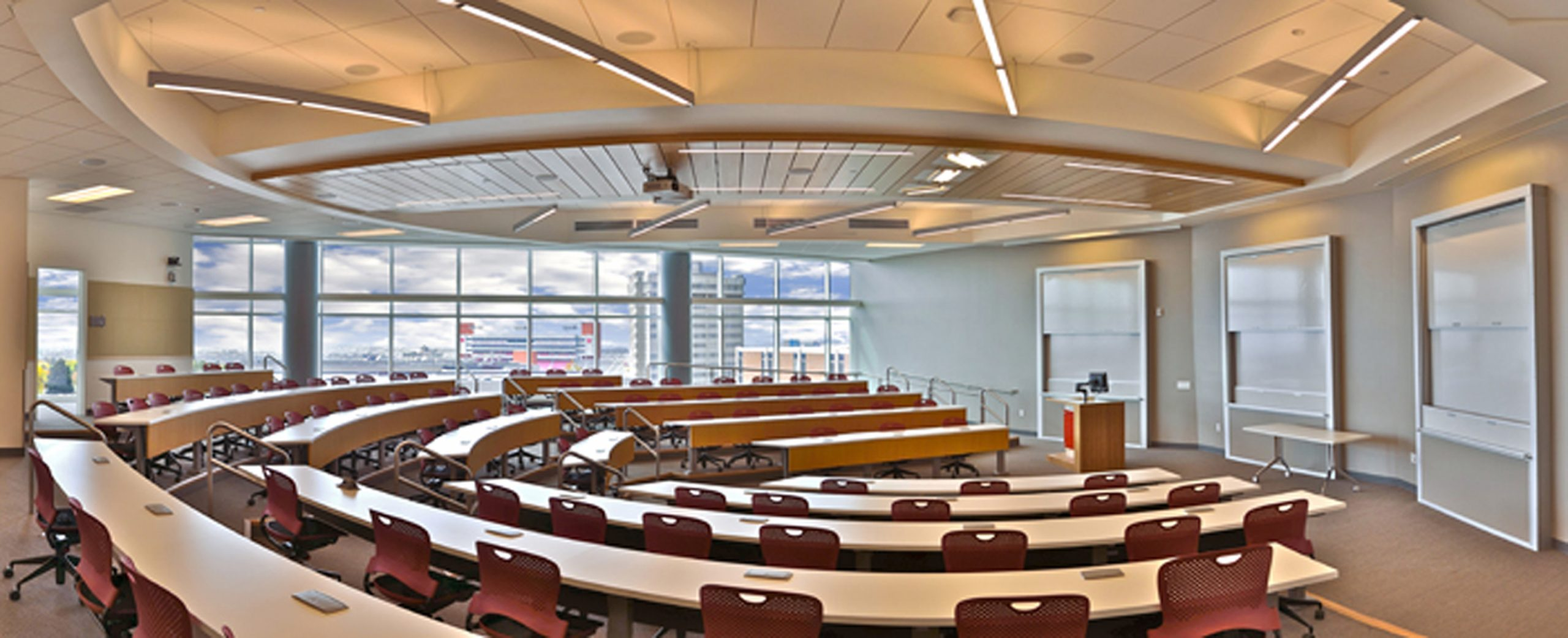 Classroom in the new Spencer Fox Eccles Business Building at the David Eccles School of Business.