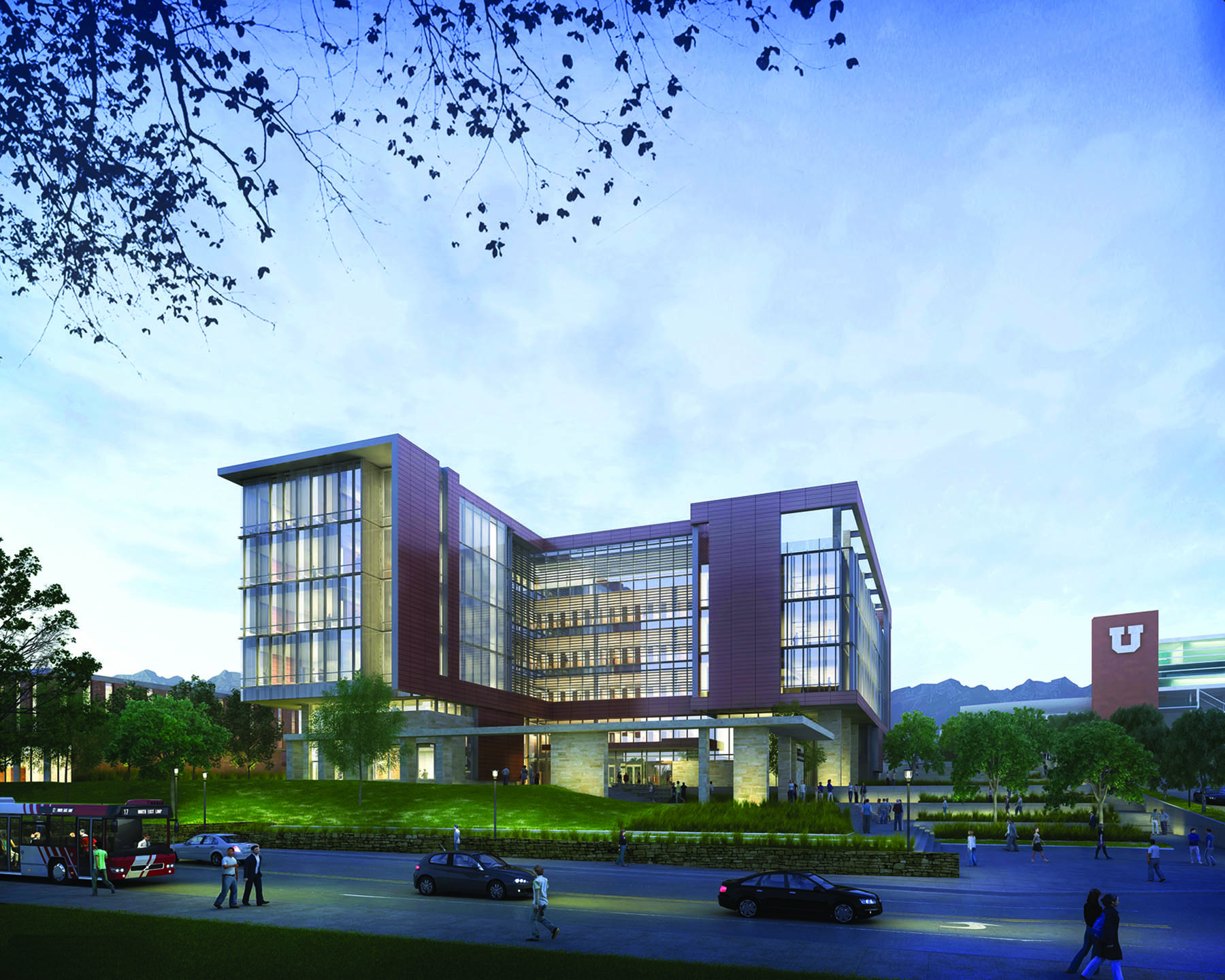 Rendering of the new S.J. Quinney College of Law building, which broke ground June 4. Construction begins June 17 and is expected to be ready for the 2015-16 academic year. The building is designed to be among the most sustainable buildings in the country.