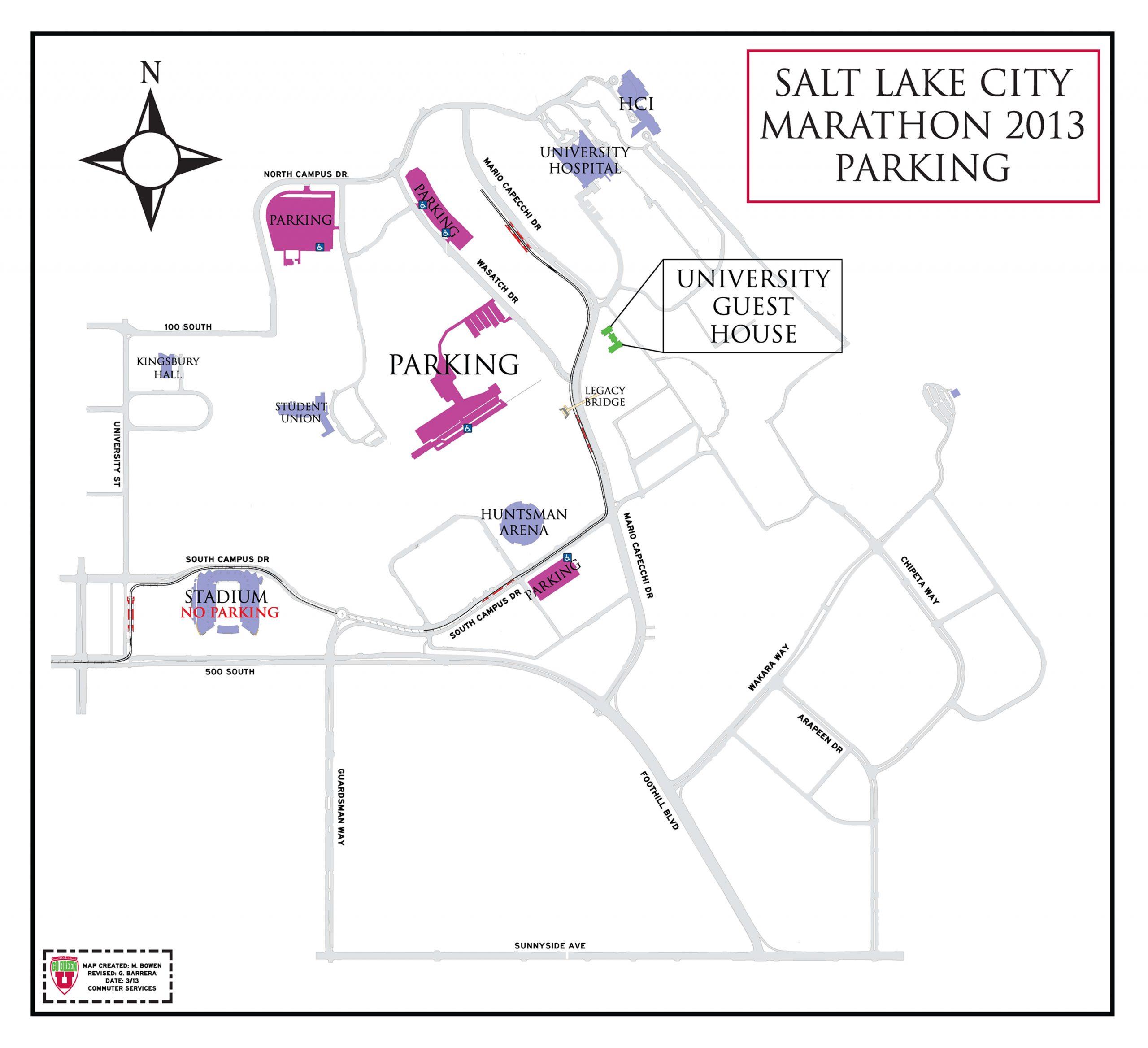 2013 Salt Lake City Marathon, University of Utah Parking Map.