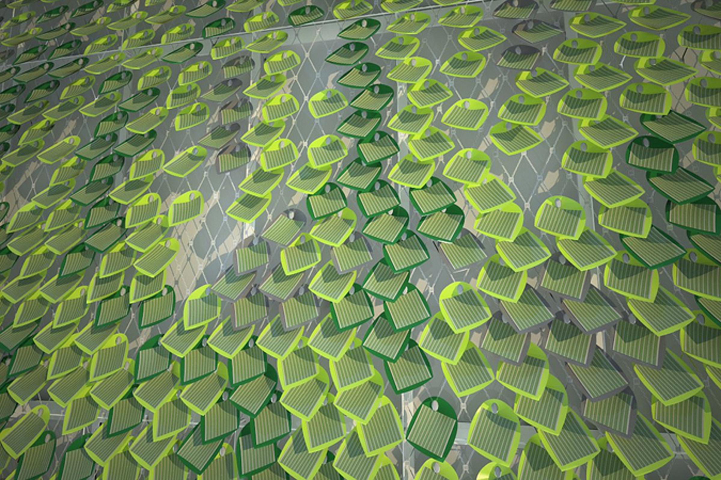 """Drawings of the solar panels in a natural-looking """"ivy-covered wall"""" arrangement."""