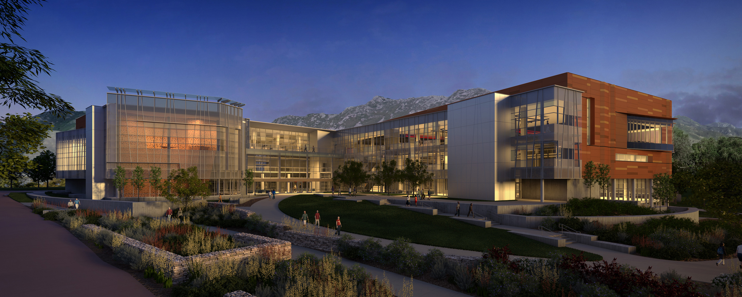 Artist rendering of the new Student Life Center, view from the HPER complex looking east.