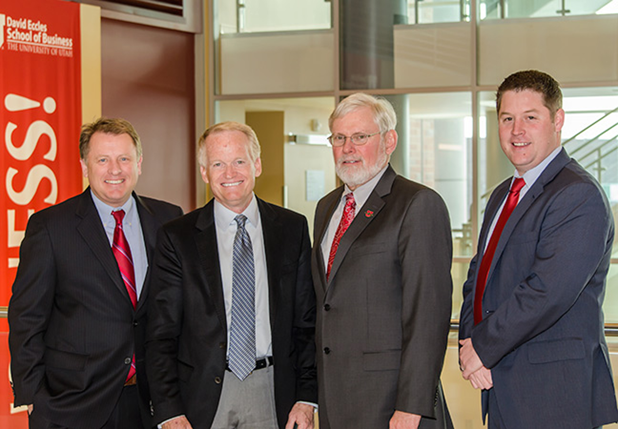 (left to right) David Eccles School of Business Dean Taylor Randall, James Lee Sorenson, University of Utah President David Pershing, and Lewis Hower, managing director of the James Lee Sorenson Center for Global Impact Investing.