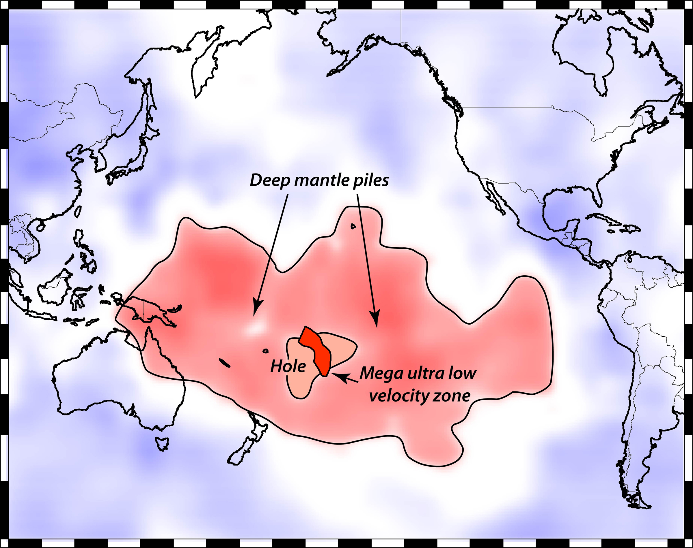 """This map shows Earth's surface superimposed on a depiction of what a new University of Utah study indicates is happening 1,800 miles deep at the boundary between Earth's warm, rocky mantle and its liquid outer core. Using seismic waves the probe Earth's deep interior, seismologist Michael Thorne found evidence that two continent-sized piles of rock are colliding as they move atop the core. The merger process isn't yet complete, so there is a depression or hole between the merging piles. But in that hole, a Florida-sized blob of partly molten rock – called a """"mega ultra low velocity zone"""" – is forming from the collision of smaller blobs on the edges of the continent-sized piles. Thorne believe this process is the beginning stage of massive volcanic eruptions that won't occur for another 100 million to 2100 million years."""