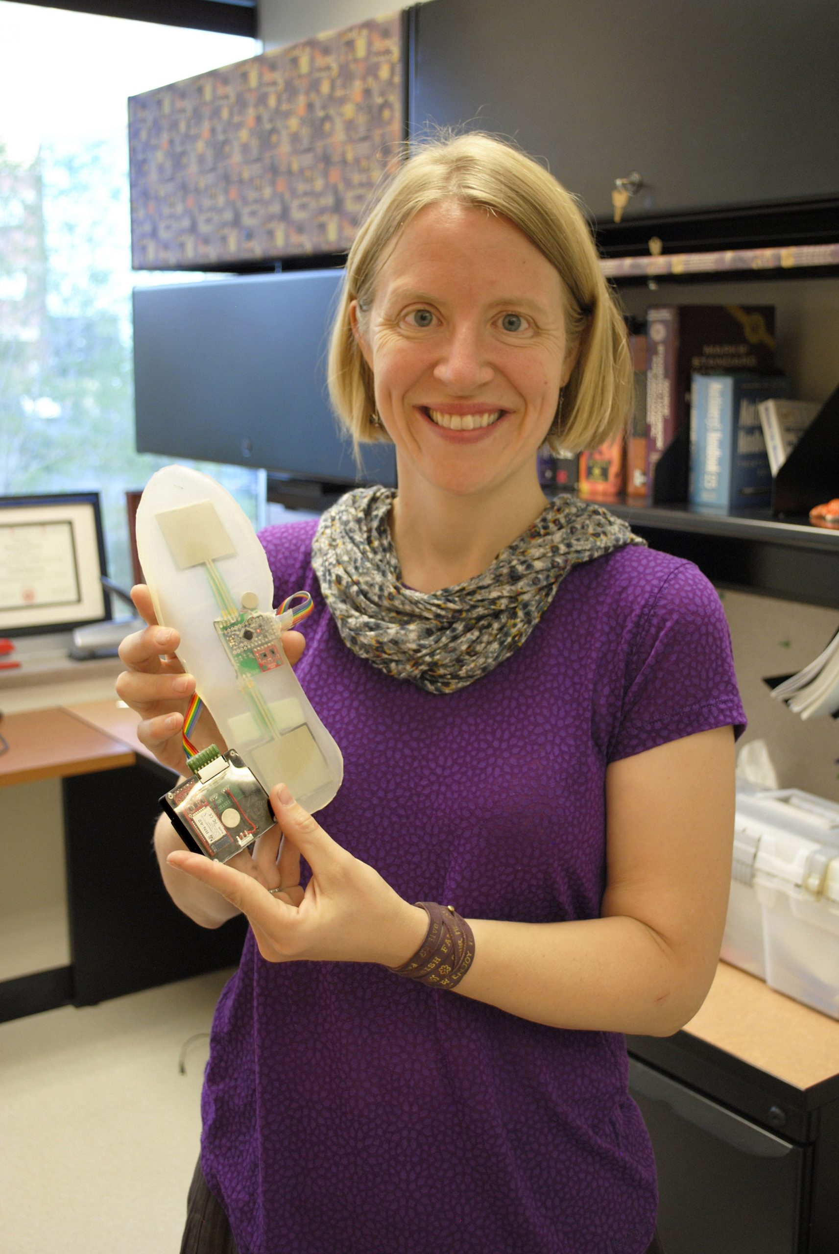 University of Utah Engineering Professor Stacy Bamberg 's Rapid Rehab system. It measures foot movement using accelerometers and gyroscopes, and provides feedback wirelessly through a smartphone application.
