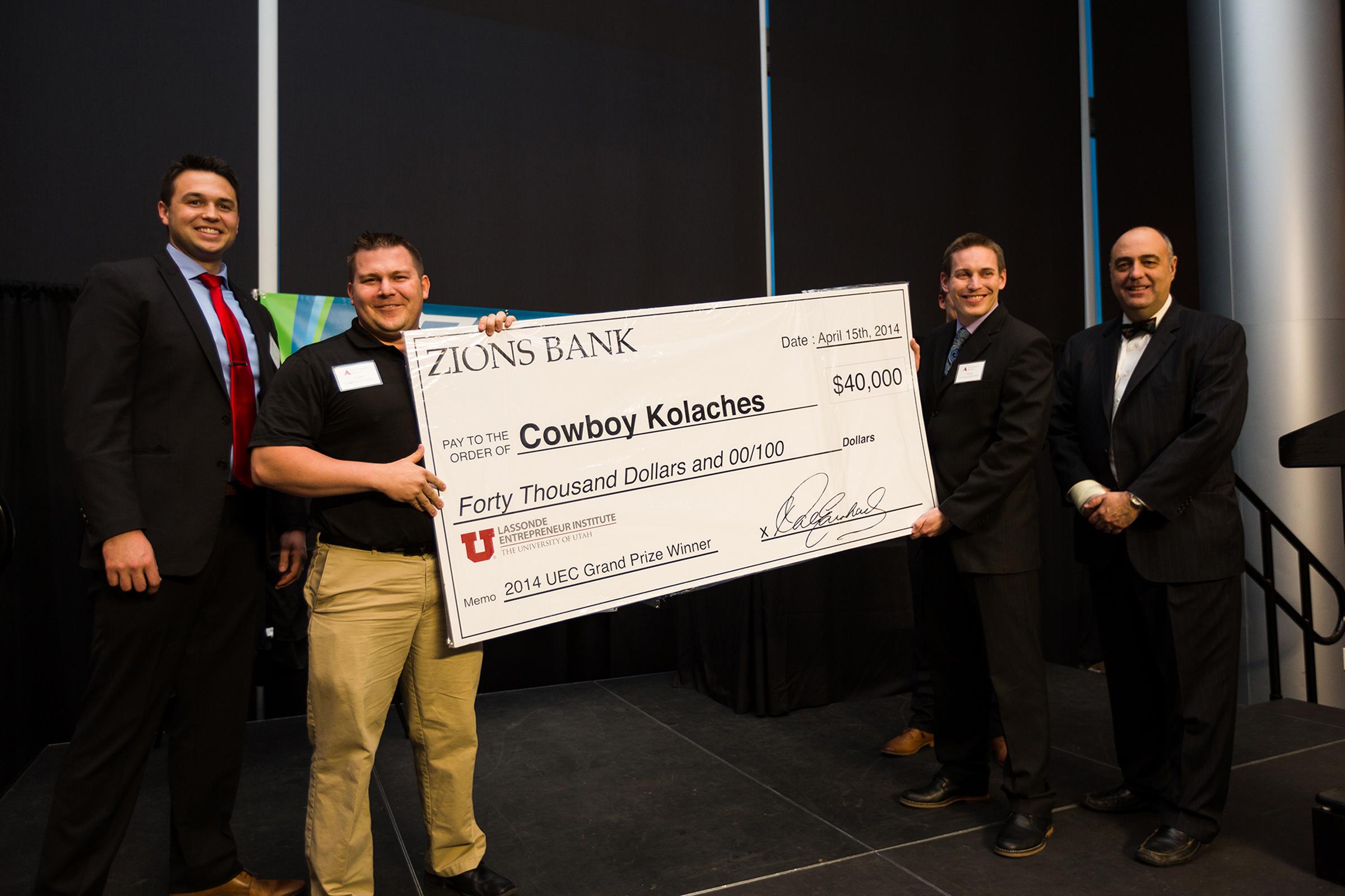 Cowboy Kolaches won the $40,000 grand prize at the Utah Entrepreneur Challenge at the U on April 11, 2014.