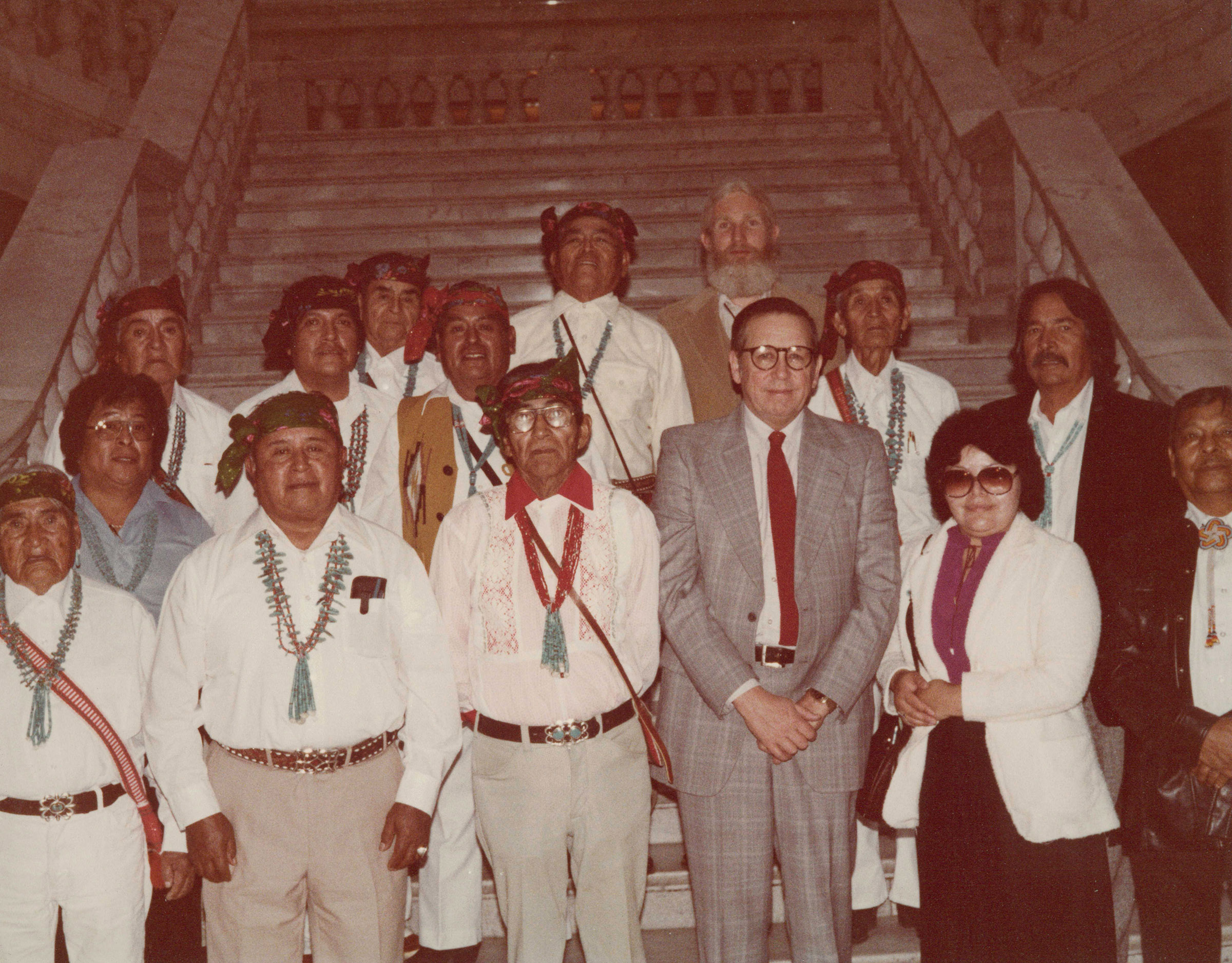 Zuni delegates and former American West Center director Floyd A. O'Neil at the Utah Capitol during the Zuni land claims trial, 1981. O'Neil was director from 1986-1996 and has worked at the center continuously since 1967.