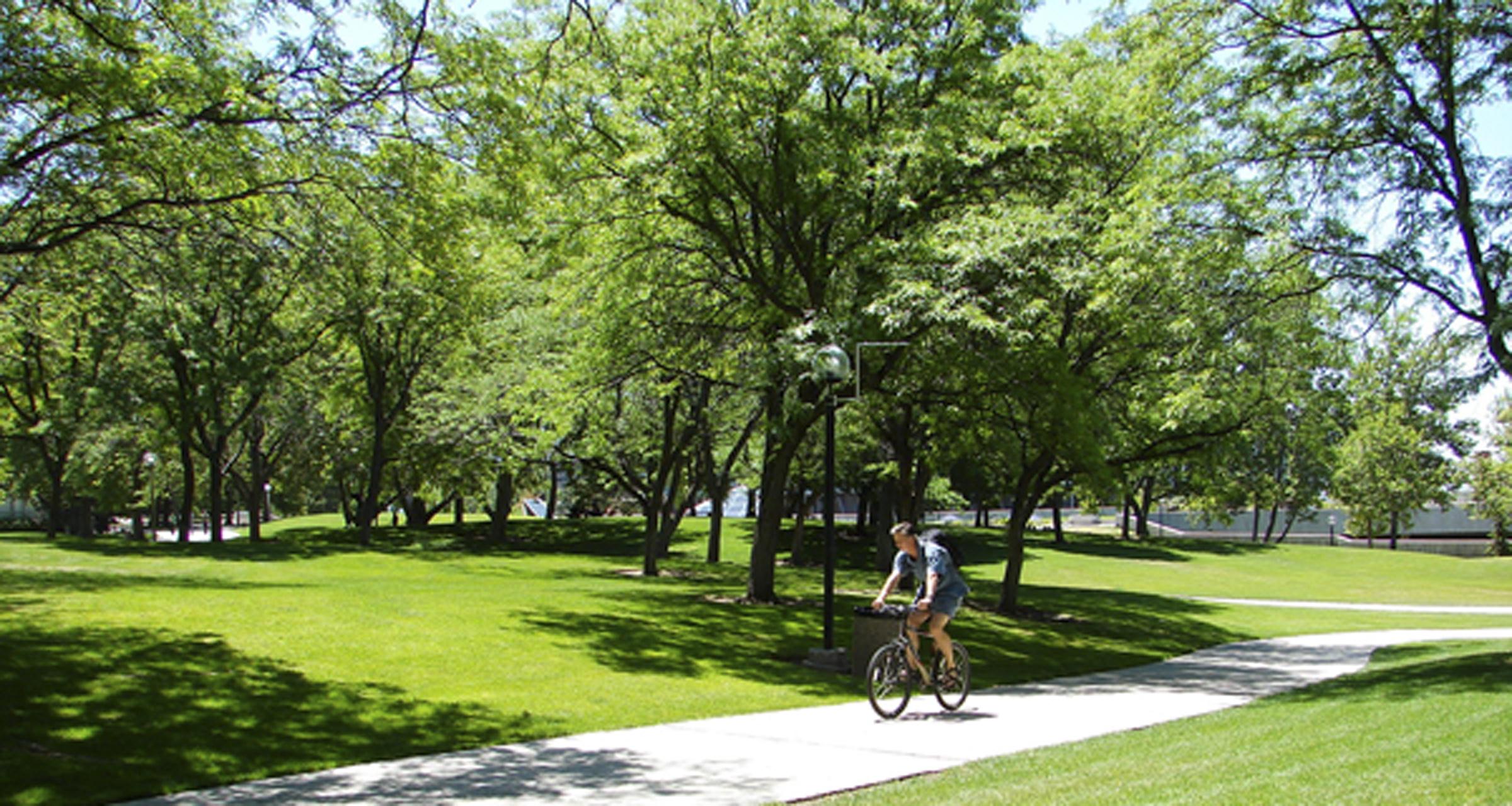 Cyclist at the University of Utah.