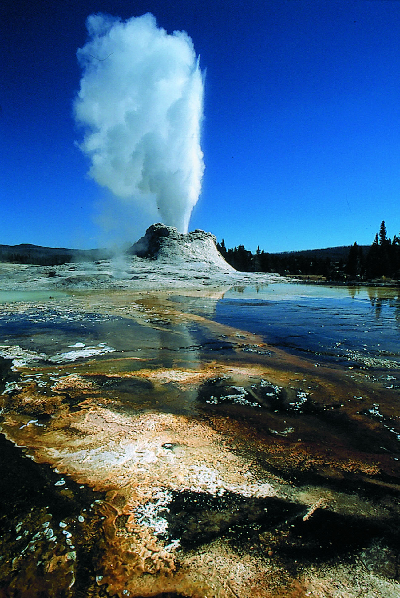 Castle Geyser at Yellowstone National Park, Wyo., erupted less frequently after seismic waves from a powerful earthquake almost 2,000 miles away in Alaska rippled through Yellowstone in November 2002. Some geysers erupted more often, others less often in the wake of the magnitude 7.9 Denali fault earthquake.