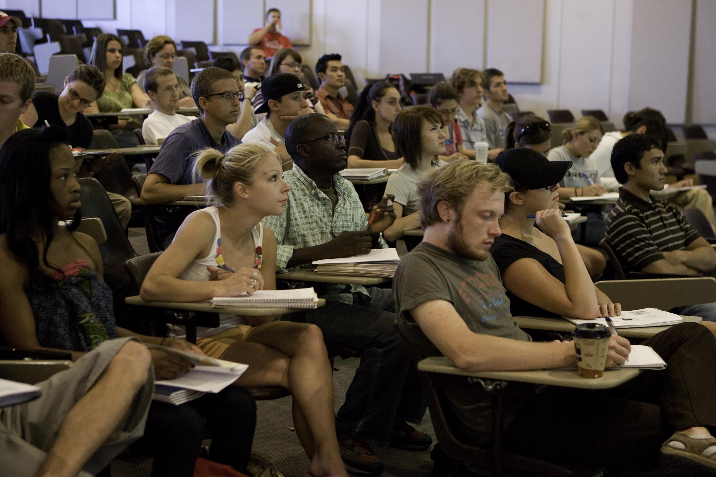 Classroom of University of Utah student.