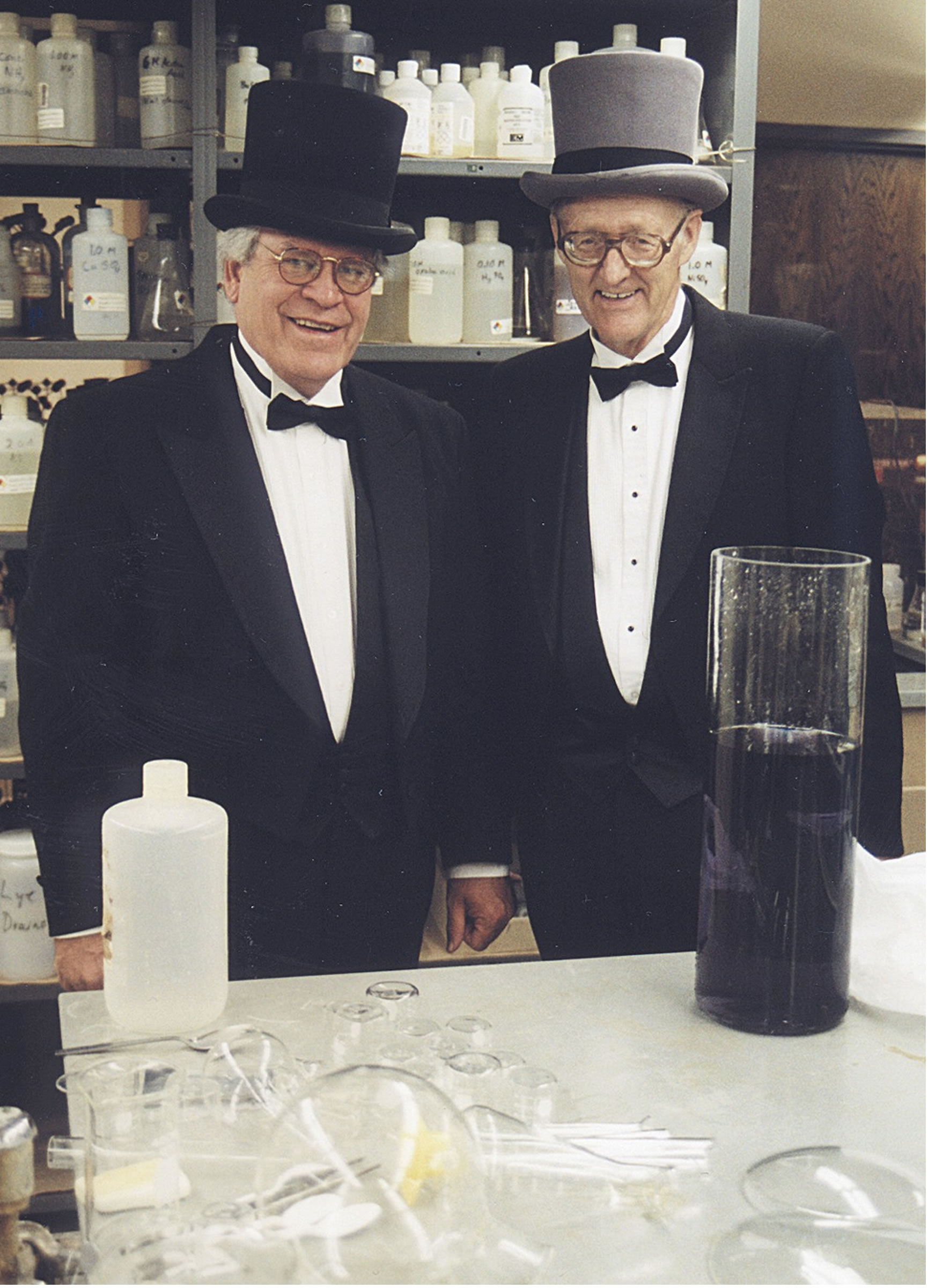 University of Utah chemists Jerry Driscoll and Ron Ragsdale dress as 19th century scientists for their annual Faraday Christmas Lectures. Their 2004 lectures will be their final performances after a 24-year run.