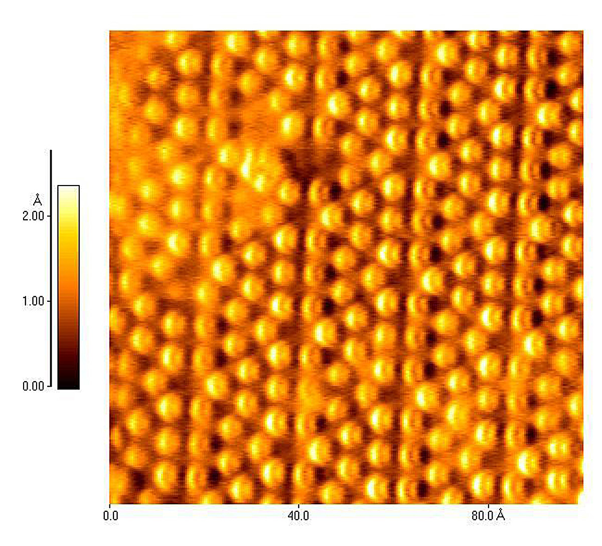This atomic force microscope image by German physicist Franz Giessibl shows dozens of silicon atoms. Scientists have debated whether the light and dark crescents - or wing-shaped features seen on the atoms represent orbitals - the paths of electrons orbiting the atoms.