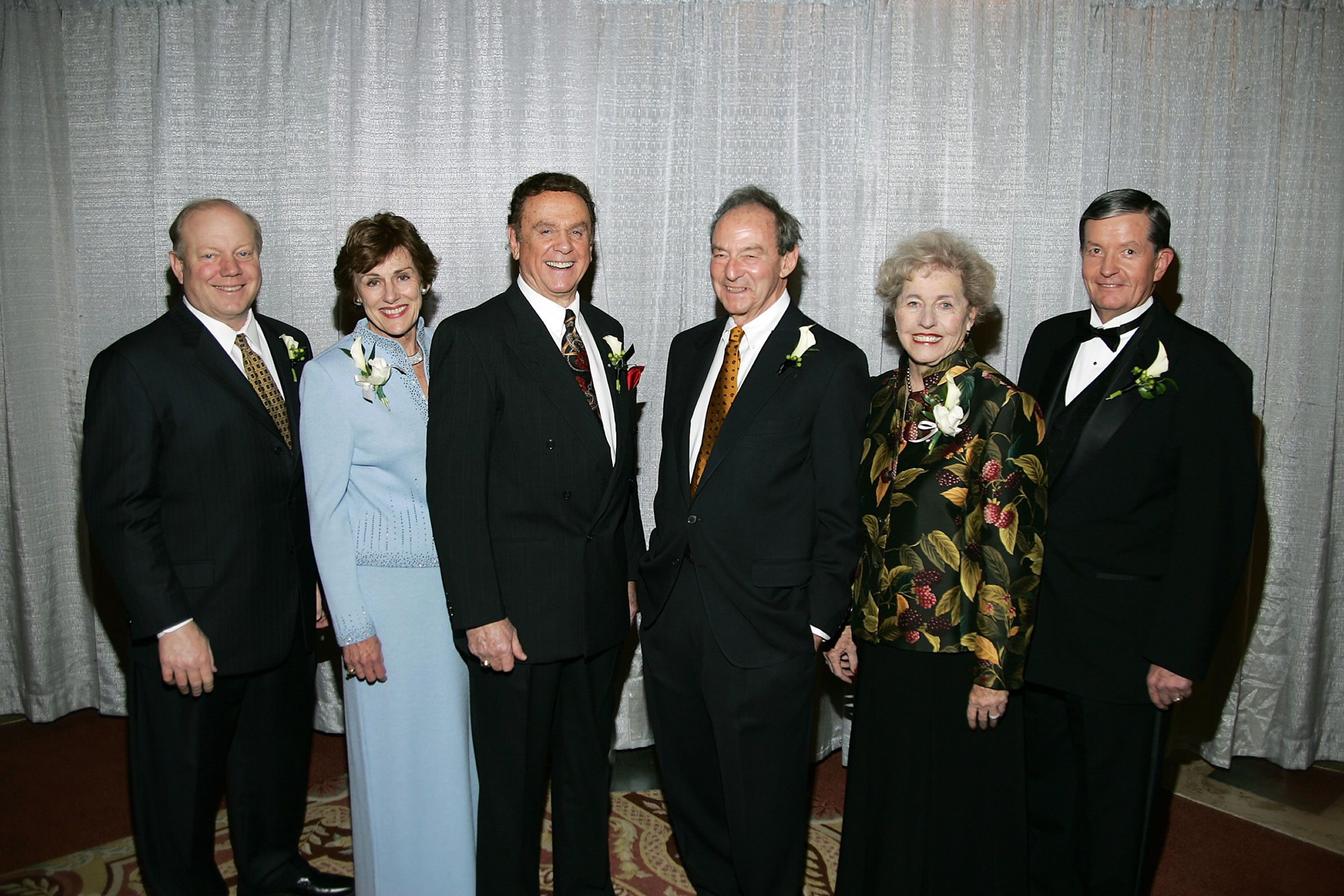 """Left to Right: Larry H. Miller, Anne Cullimore Decker, Bill Marcroft, ALonzo """"Lon"""" Watson, Rhoda Ramsey and Cecil O. Samuelson."""