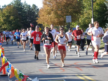 On Homecoming day, runners of all ages gather at the Alumni House for the ever popular 5K Run/Walk/Stroll, followed by the second annual Kids K Fun Run.