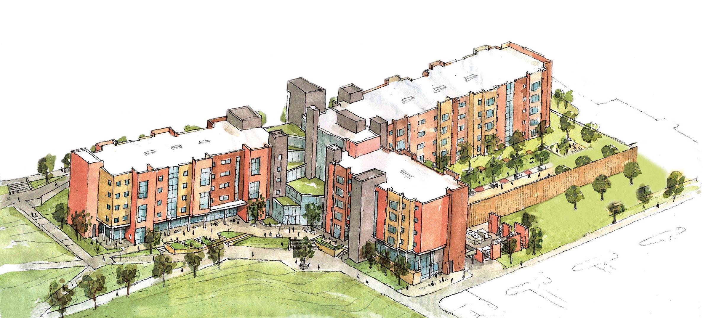 Artist's rendering of Honors Housing.