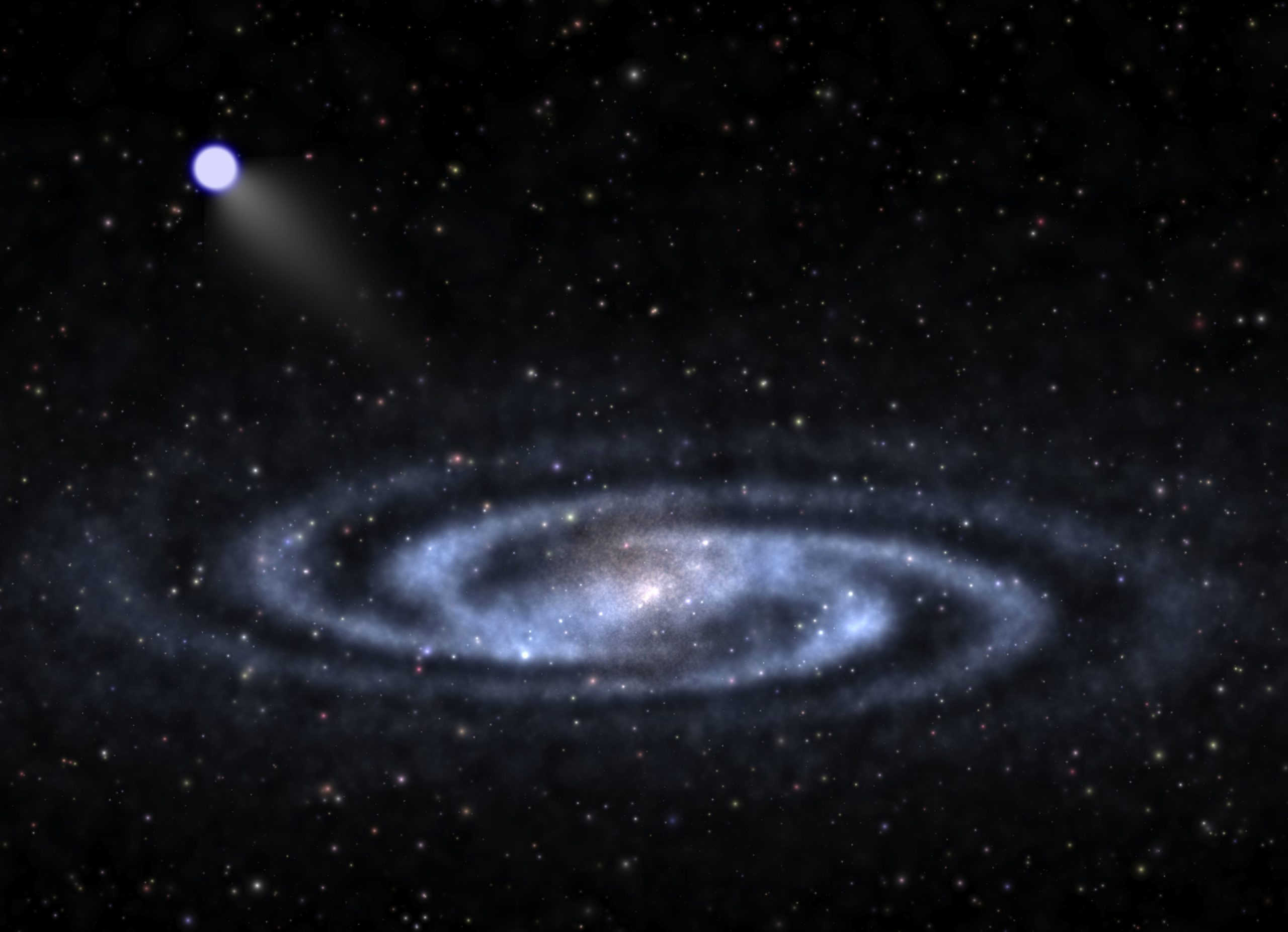 """An astrophysicist-artist's conception of a hypervelocity star speeding away from the visible part of a spiral galaxy like our Milky Way and into the invisible halo of mysterious """"dark matter"""" that surrounds the galaxy's visible portions. University of Utah researcher Zheng Zheng and colleagues in the U.S. and China discovered the closest bright hypervelocity star yet found."""