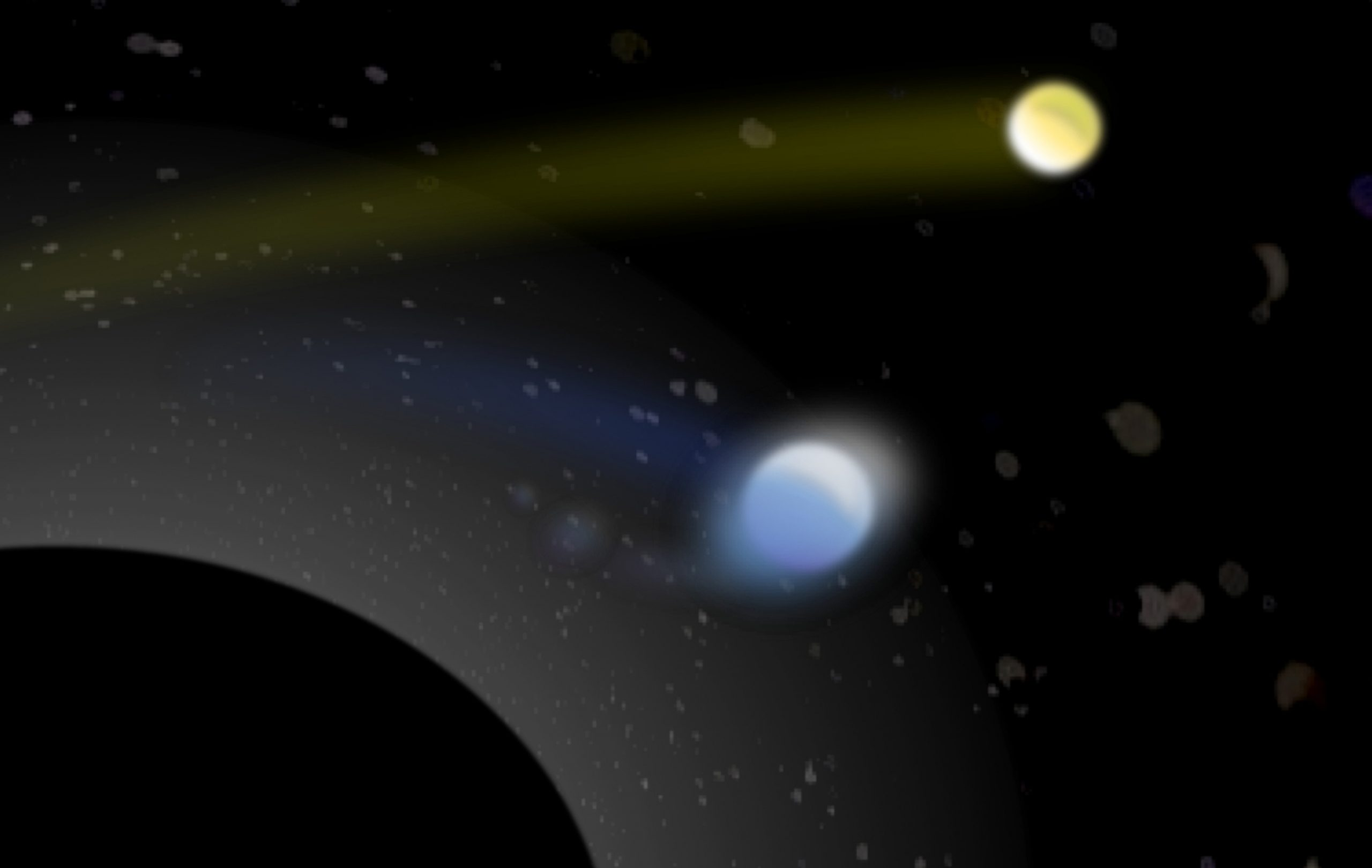 Artist's conception of a supermassive black hole (lower left) with its tremendous gravity capturing one star (bluish, center) from a pair of binary stars, while hurling the second star (yellowish, upper right) away at a hypervelocity of more than 1 million mph. The grayish blobs are other stars captured in a cluster near the black hole. They appear distorted because the black hole's gravity curves spacetime and thus bends the starlight.