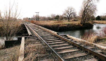 Current intersection of Jordan River and the abandoned rail line.