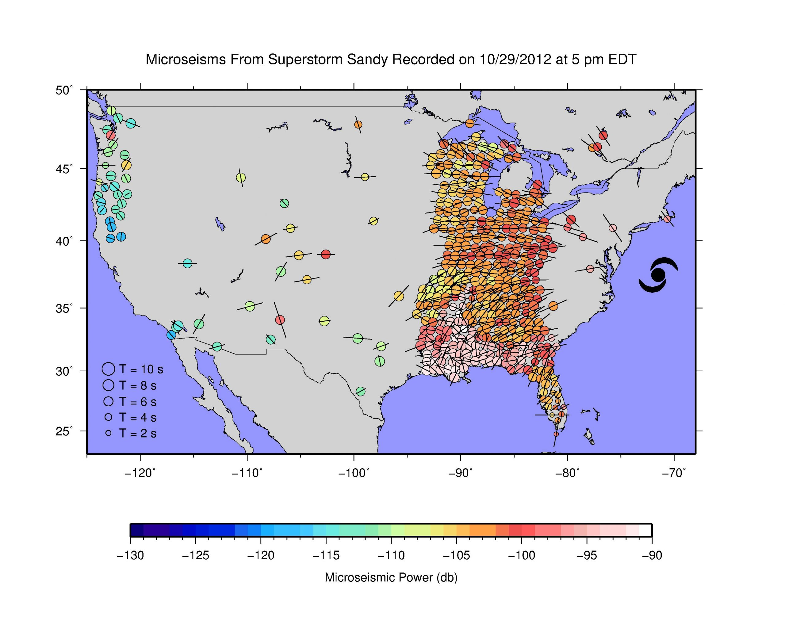 """This map, taken from a University of Utah video, shows colored dots to represent the locations of portable seismometers in the Earthscope array, which is funded by the National Science Foundation. Most are now located in the eastern part of the United States. Blue-green dots indicate low seismic activity, while yellow-orange-red dots indicate stronger seismic activity. The map shows that when superstorm Sandy turned west-northwest toward Long Island, New York City and New Jersey on Oct. 29, 2012, the seismometers """"lit up"""" because of ground shaking by certain ocean waves imparting energy to the seafloor."""