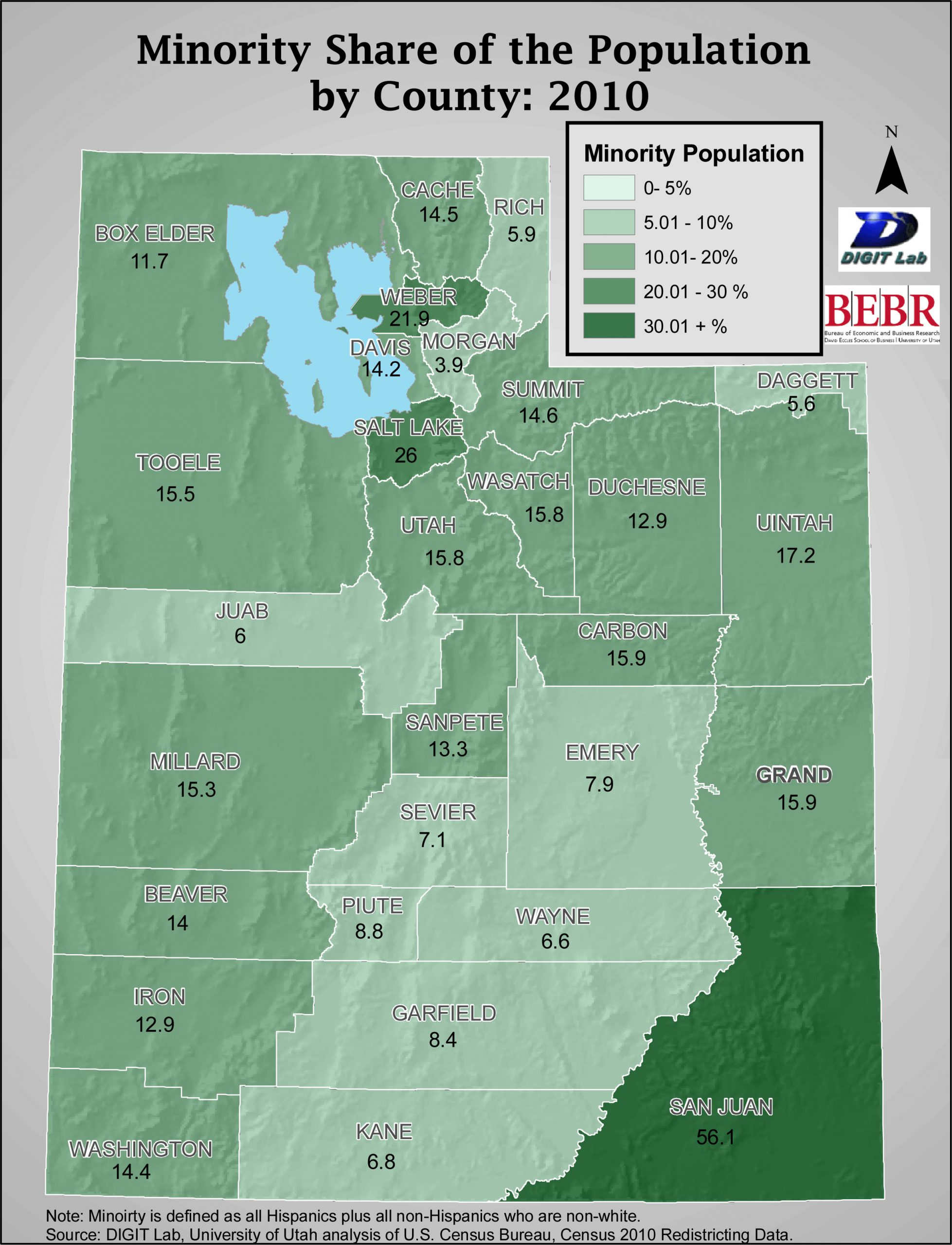 The University of Utah's Bureau of Economic and Business Research (BEBR) is closely analyzing census data from Utah because of its potential to reshape the state's political boundaries. This map shows what percentage of each county's population in 2010 is shared by minorities (defined as Hispanics and non-whites). The analysis has found that minorities accounted for 40 percent of the overall population increase for Utah from 2000 to 2010, and the state's minority population rose by 213,262 in that time period--a 65 percent increase.