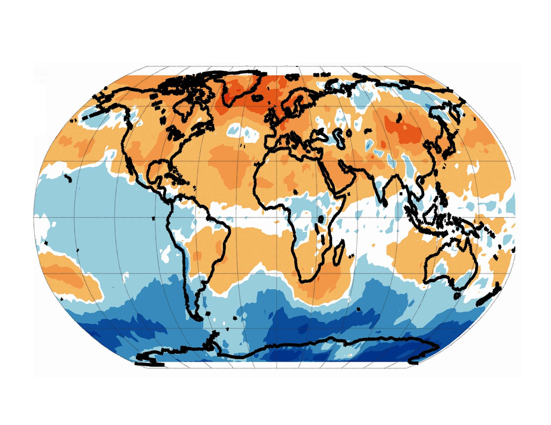 This map of the Earth shows areas of particularly strong warming of the lower atmosphere in yellow, orange and reddish colors. Note the enhanced warming of midlatitude regions north and south of the equator, indicating the expansion of the tropics. The map also shows pronounced warming at Arctic latitudes.
