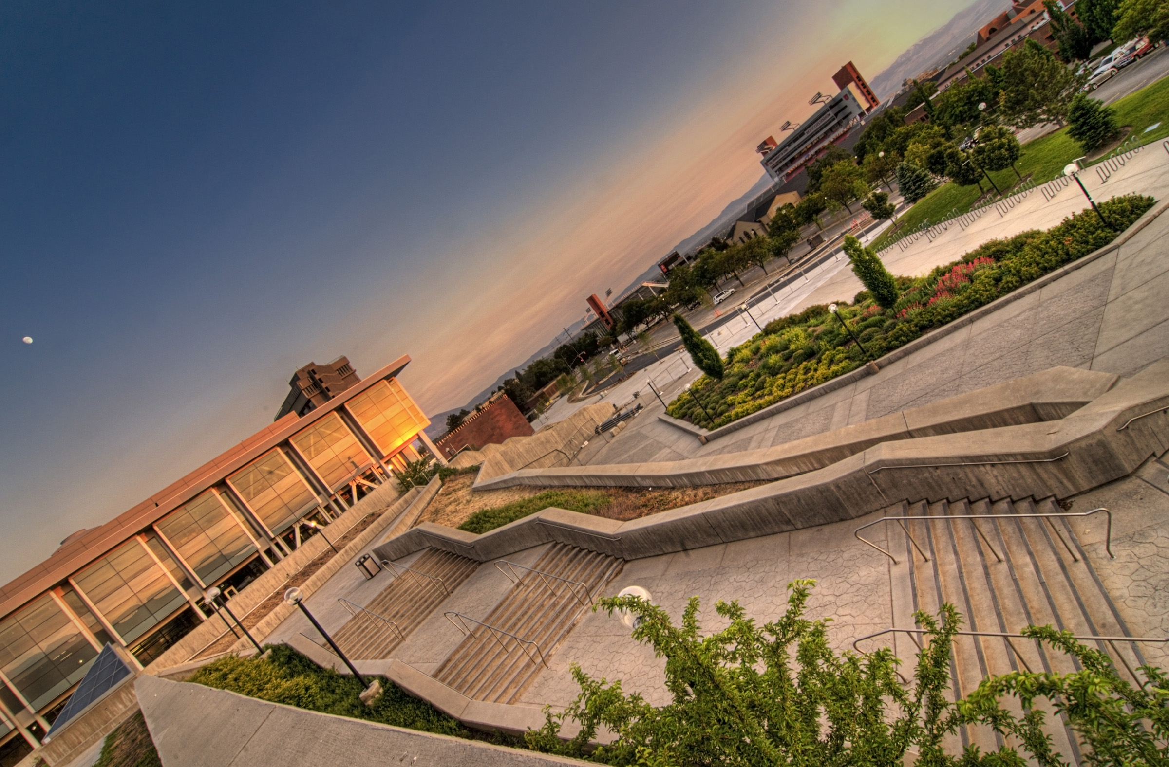 J. Willard Marriot Library and Rice Eccles Stadium at dusk, the University of Utah.