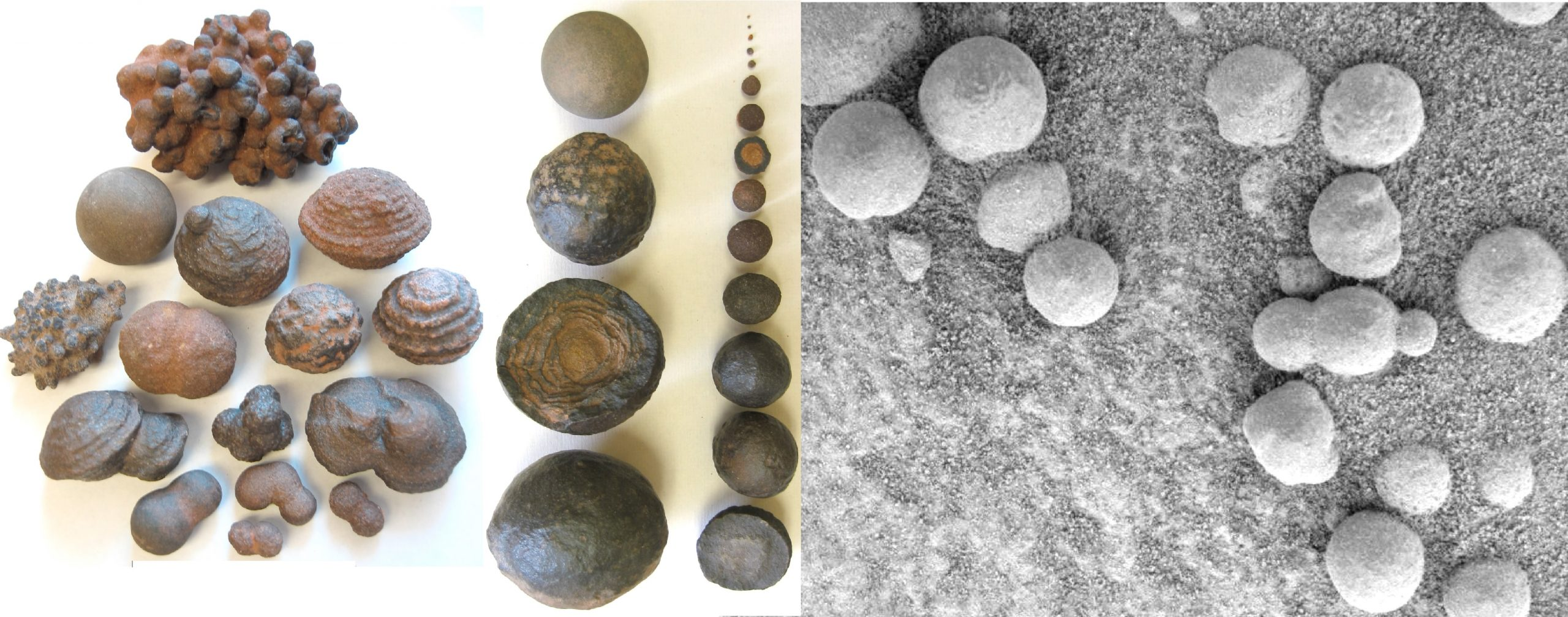 """University of Utah geologists say marble-shaped rocks known as concretions from Utah (left) formed millions of years ago in groundwater-soaked rocks, providing clues to the origin of similar concretions or so-called """"blueberries"""" (right) discovered on Mars by NASA's Opportunity rover. The Utah concretions shown on the left range in diameter from one twenty-fifth of an inch to 2 inches, while the Martian versions on the right all measure less than one-fifth of an inch in diameter. (Scale of photos is different.)"""